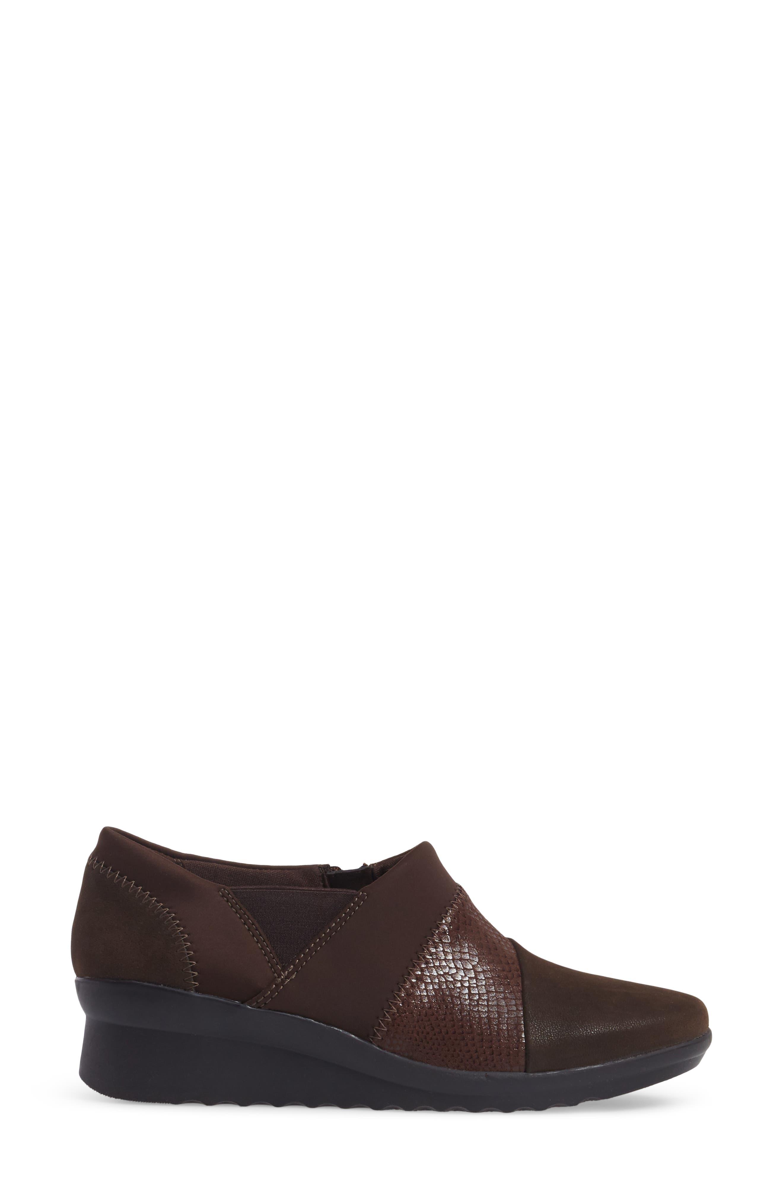 Caddell Denali Ankle Loafer,                             Alternate thumbnail 3, color,                             Brown Fabric