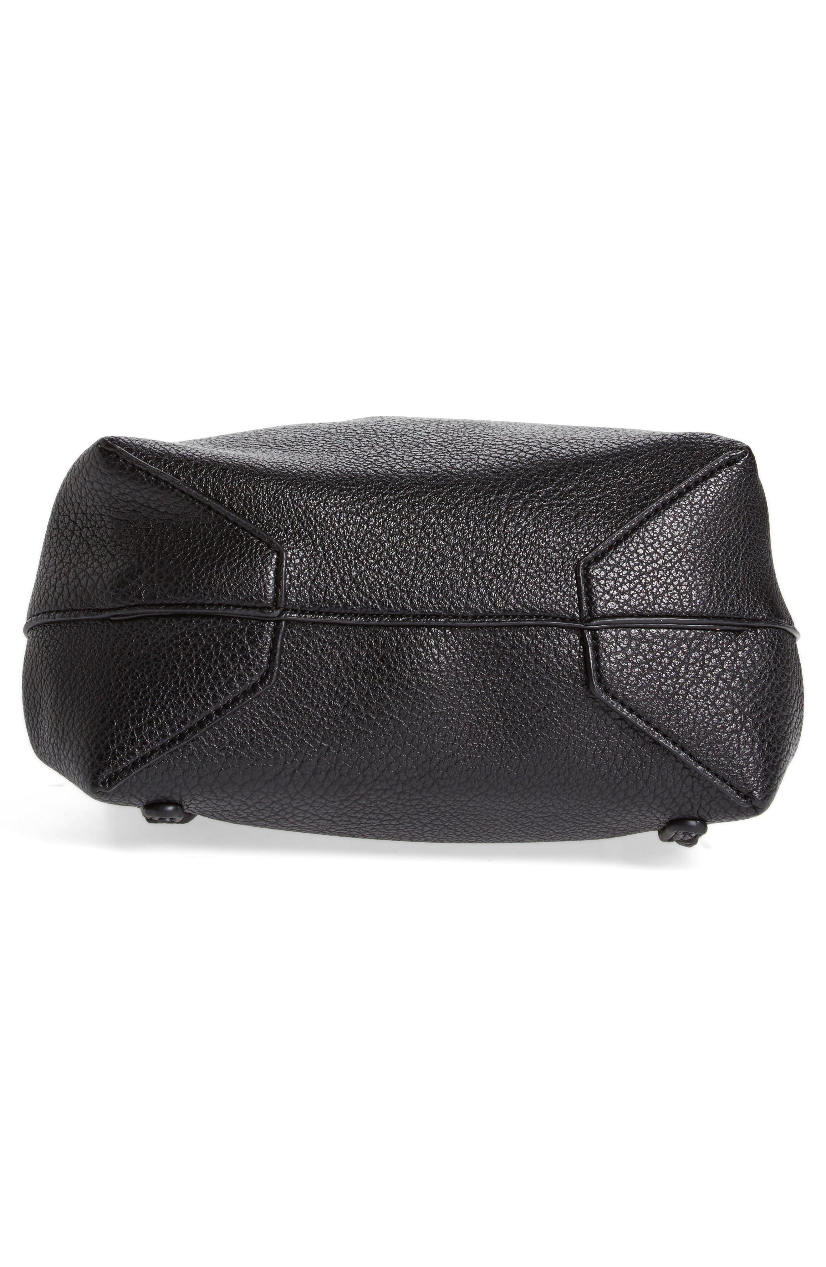 Jaylee Faux Leather Mini Backpack,                             Alternate thumbnail 6, color,                             Black