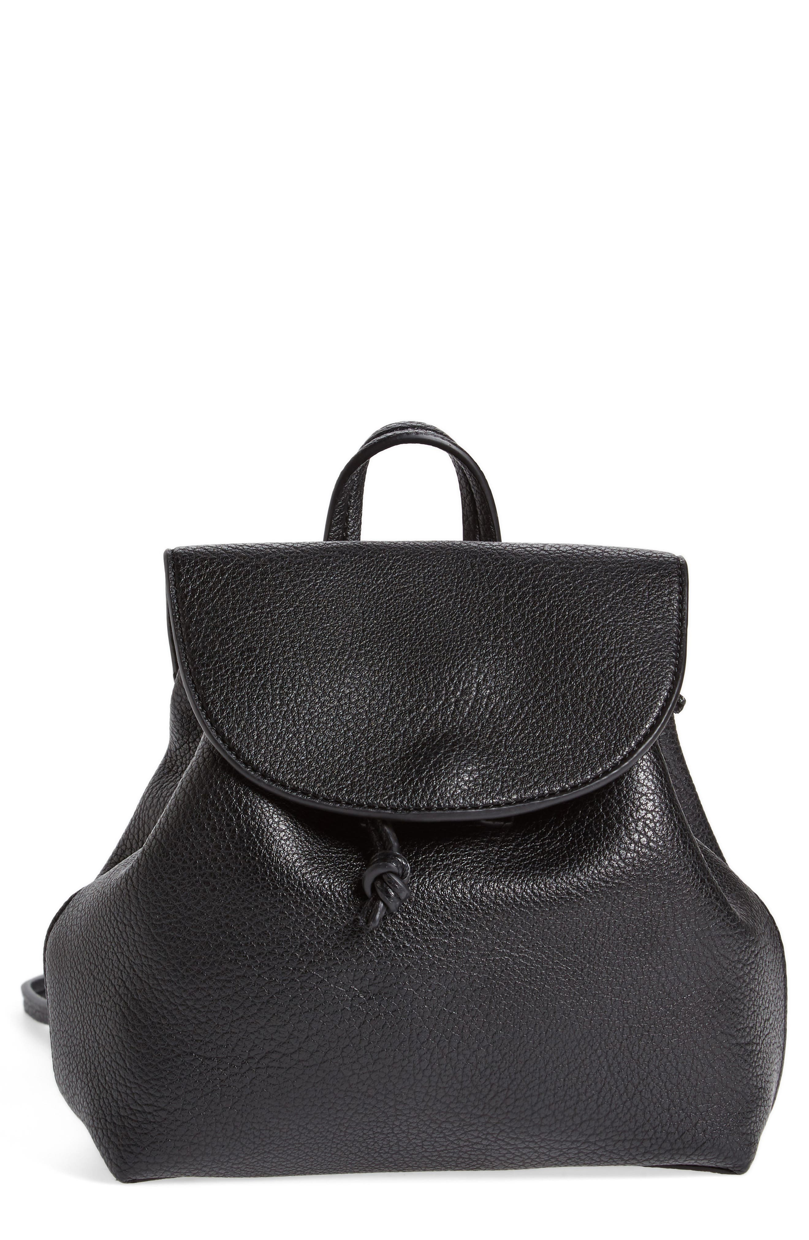Jaylee Faux Leather Mini Backpack,                             Main thumbnail 1, color,                             Black