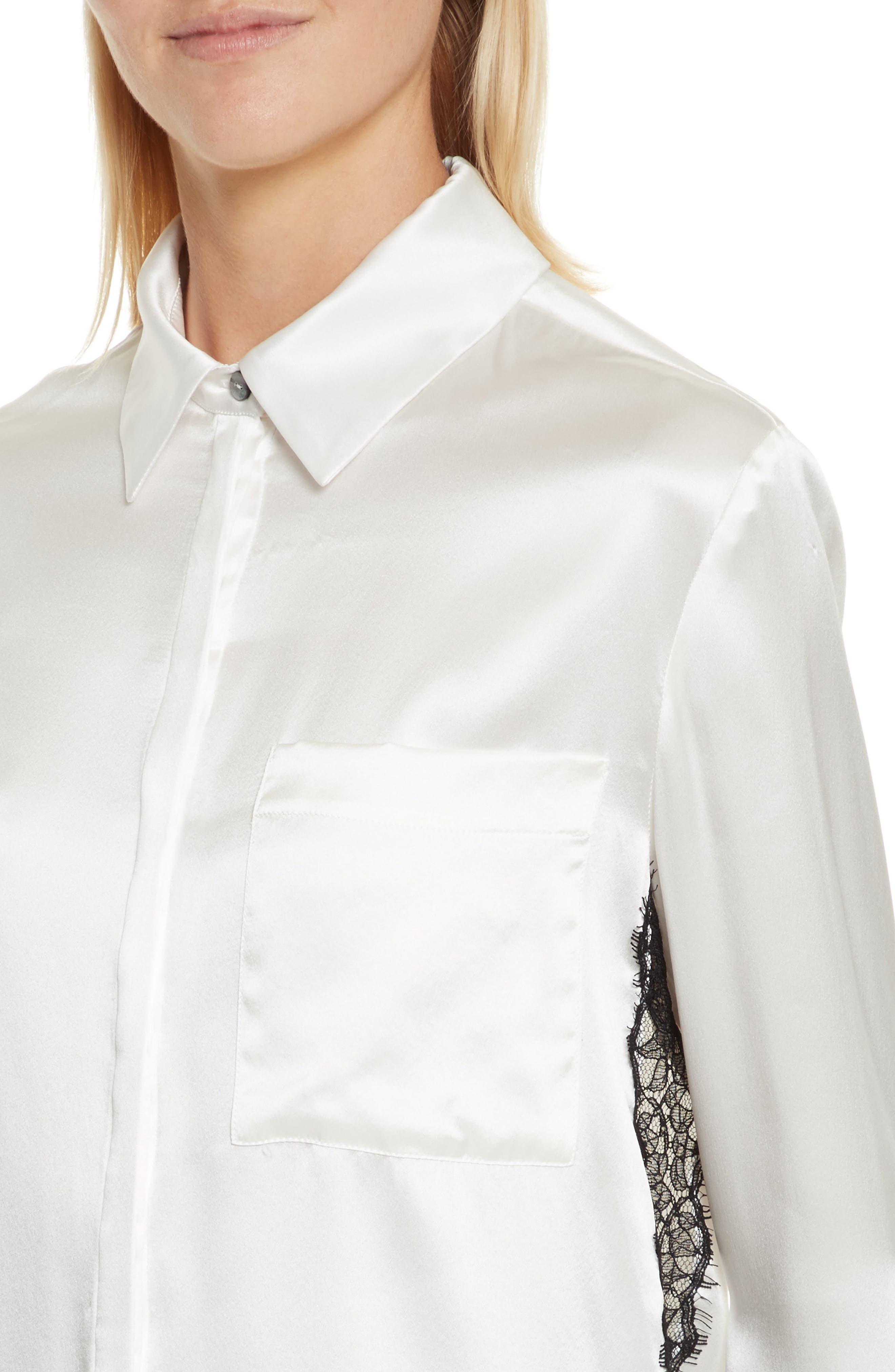Korlan Lace Trim Silk Top,                             Alternate thumbnail 4, color,                             Ivory/ Black