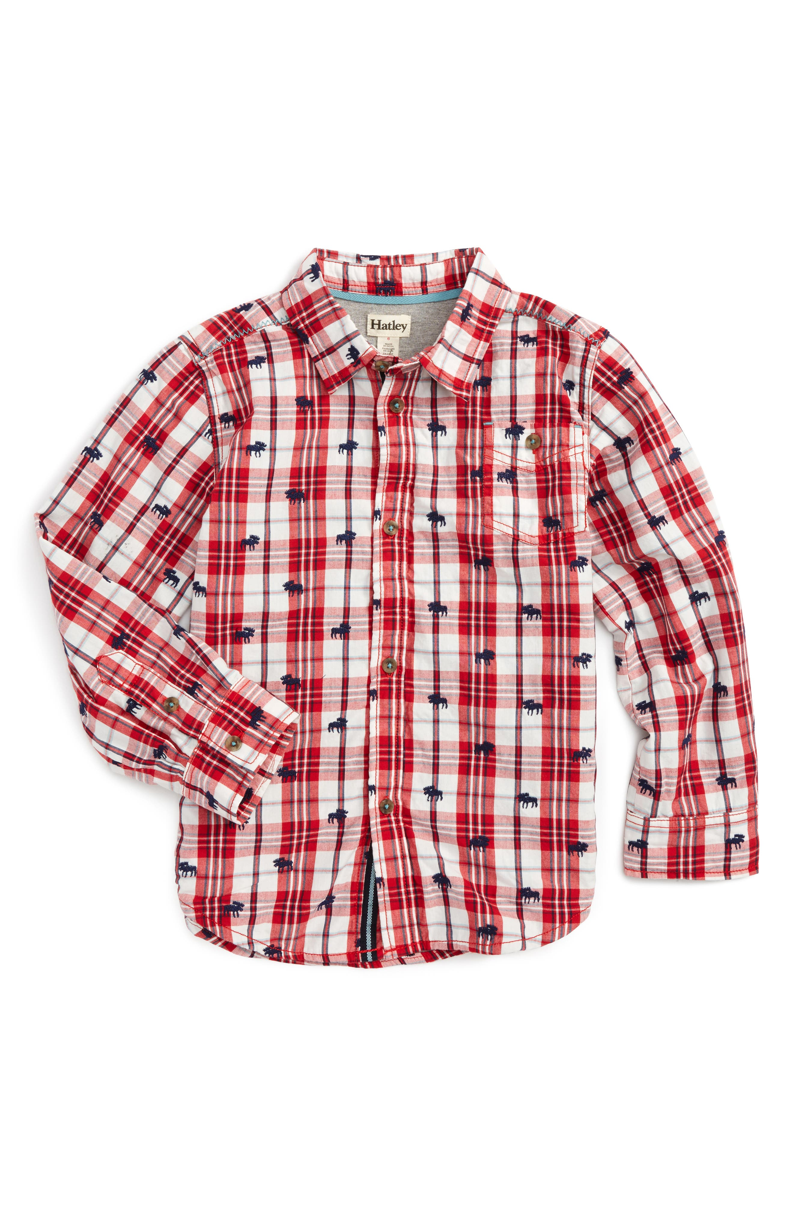 Alternate Image 1 Selected - Hatley Embroidered Plaid Shirt (Toddler Boys, Little Boys & Big Boys)