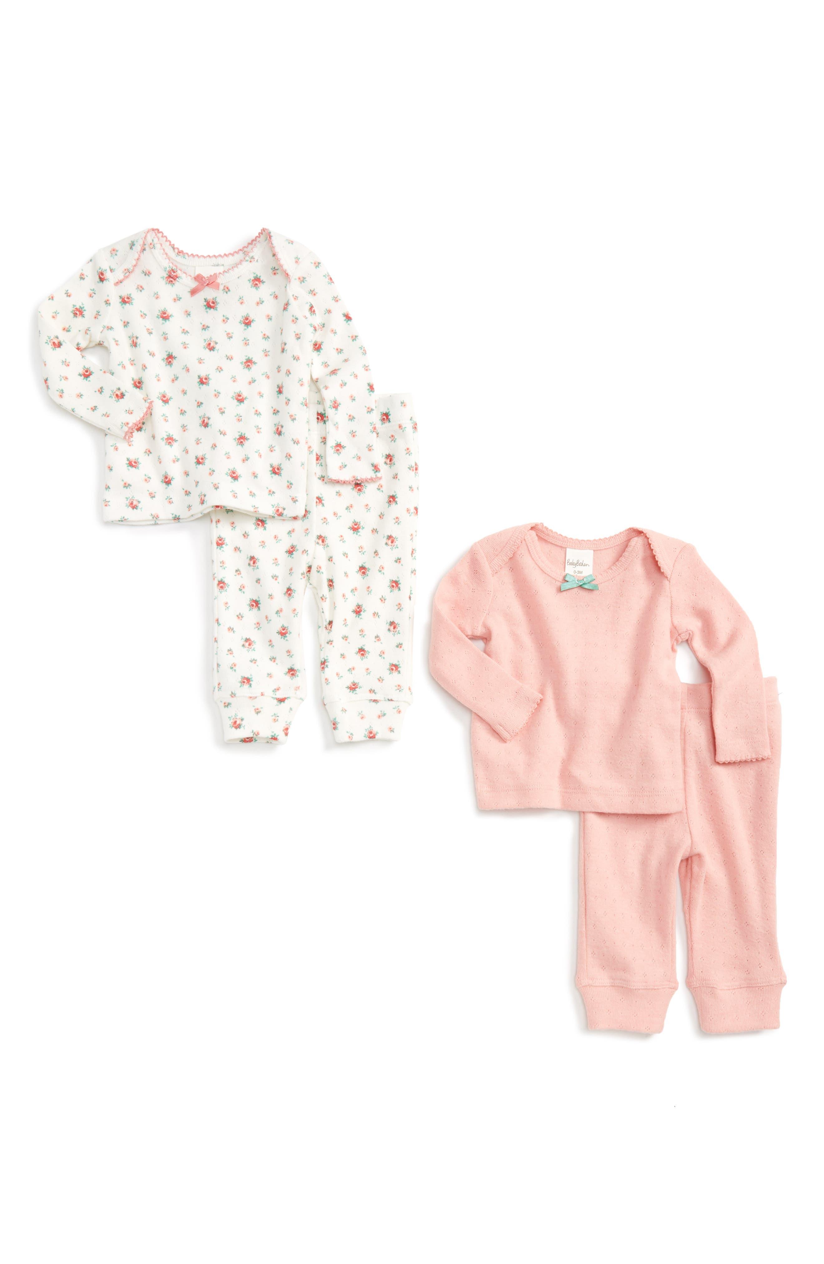 Mini Boden Cozy Pointelle 2-Pack Tee & Pants Set (Baby Girls & Toddler Girls)