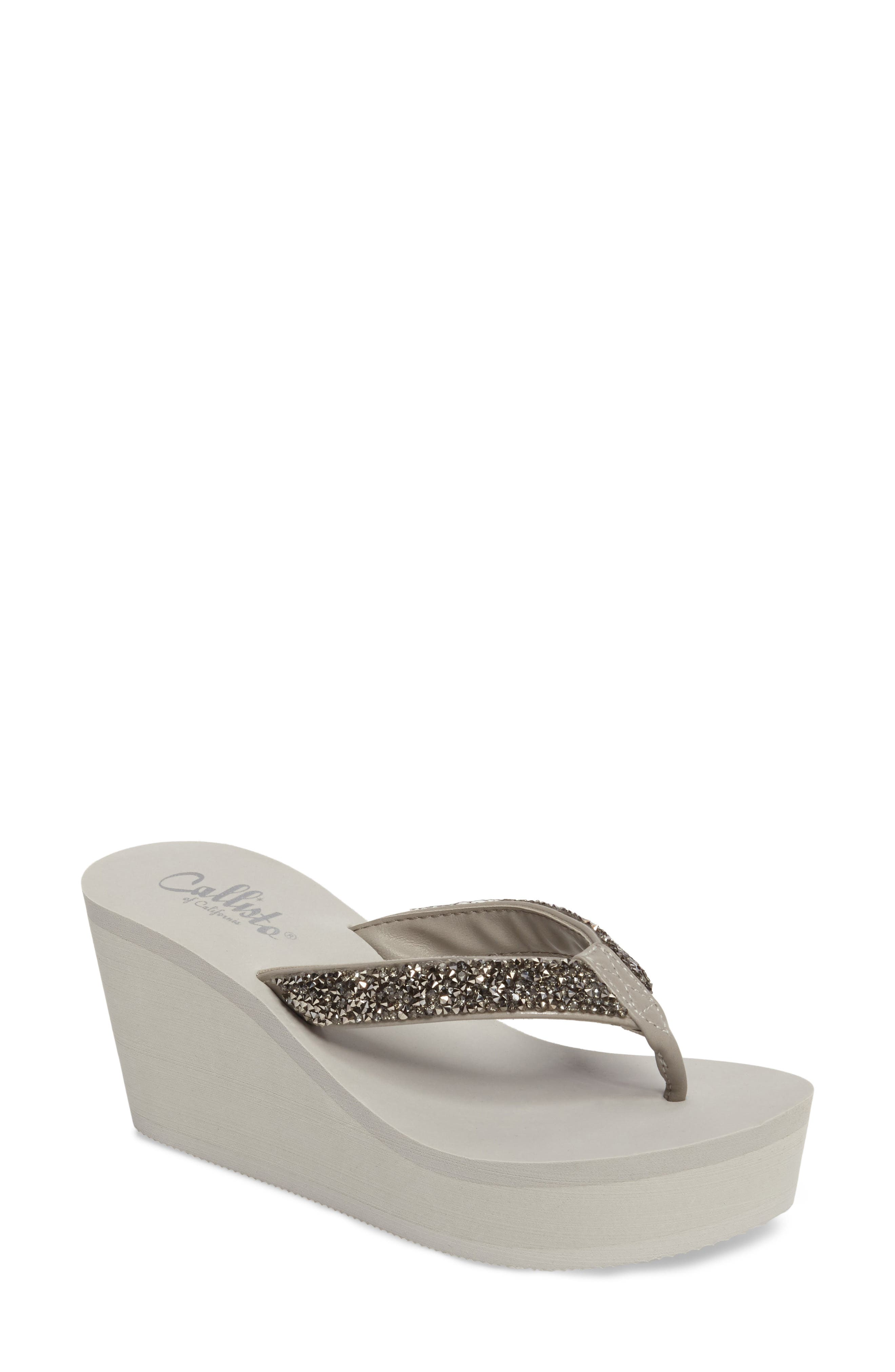 Callisto Piers Sparkle Wedge Flip Flop (Women)