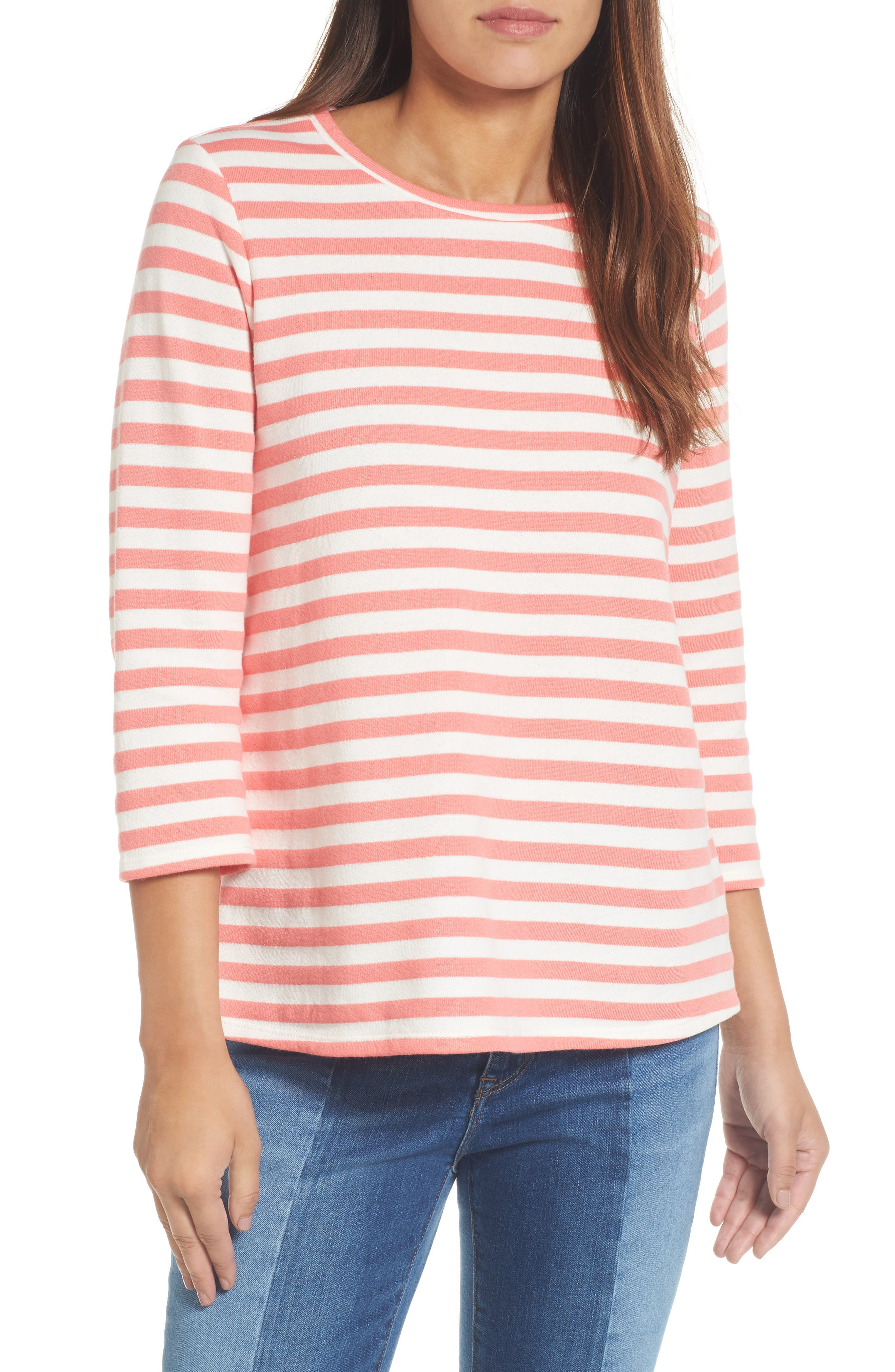 Halogen High/Low Cross Back Sweatshirt,                         Main,                         color, Coral Sugar- White Stripe