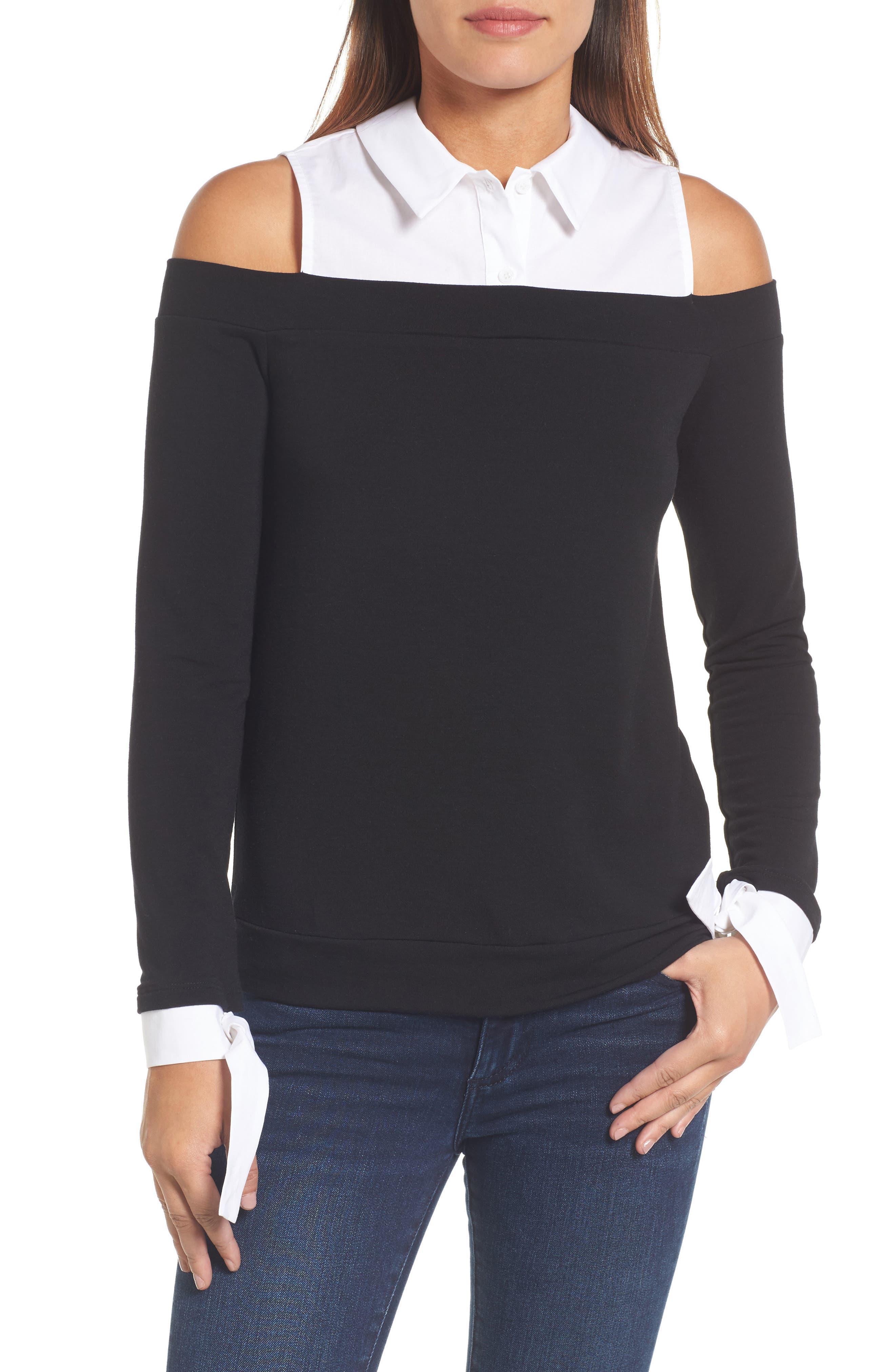 Mixed Media Cold Shoulder Top,                             Main thumbnail 1, color,                             Black/ White
