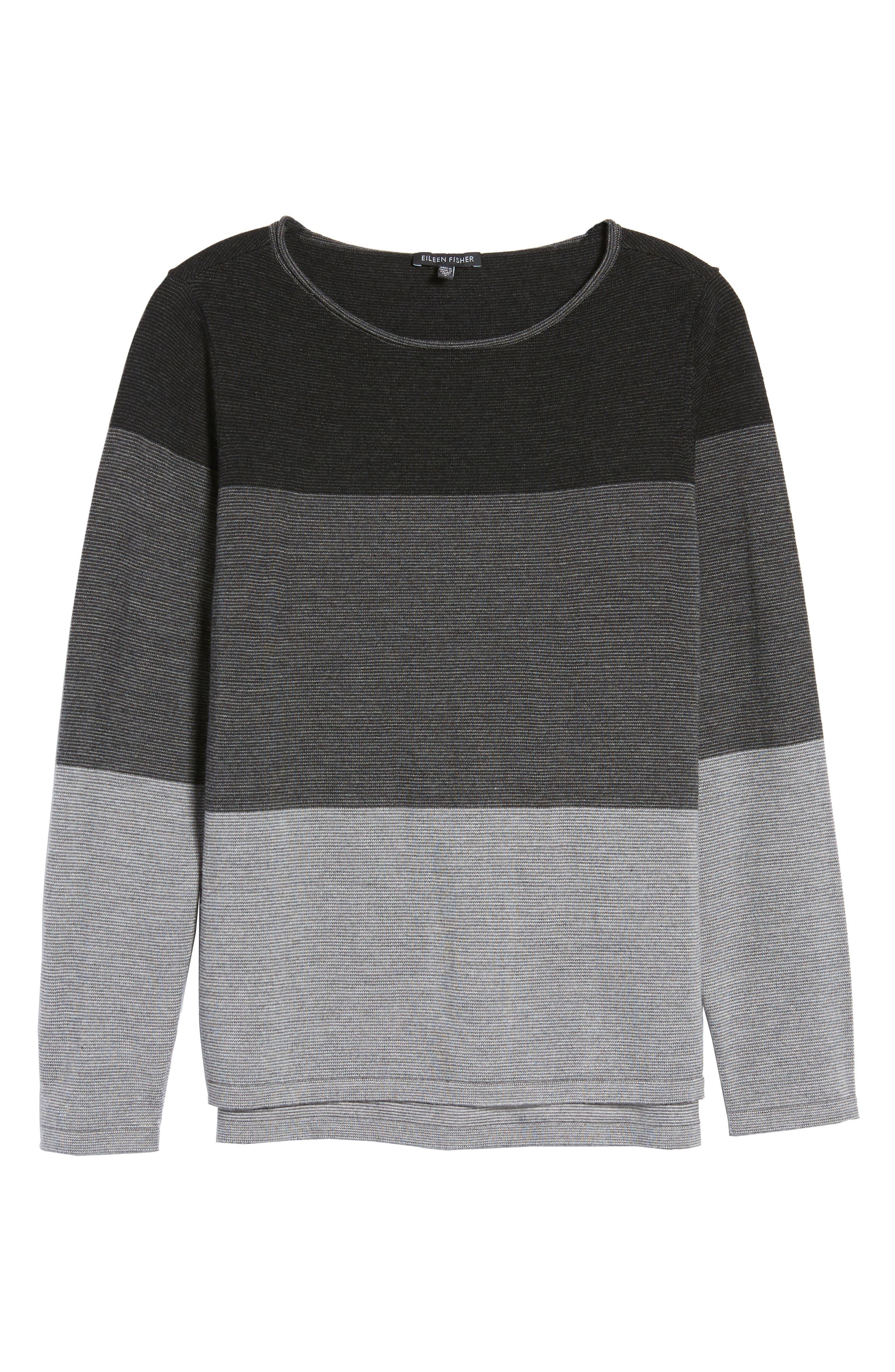 Alternate Image 6  - Eileen Fisher Bateau Neck Stripe Merino Wool Sweater