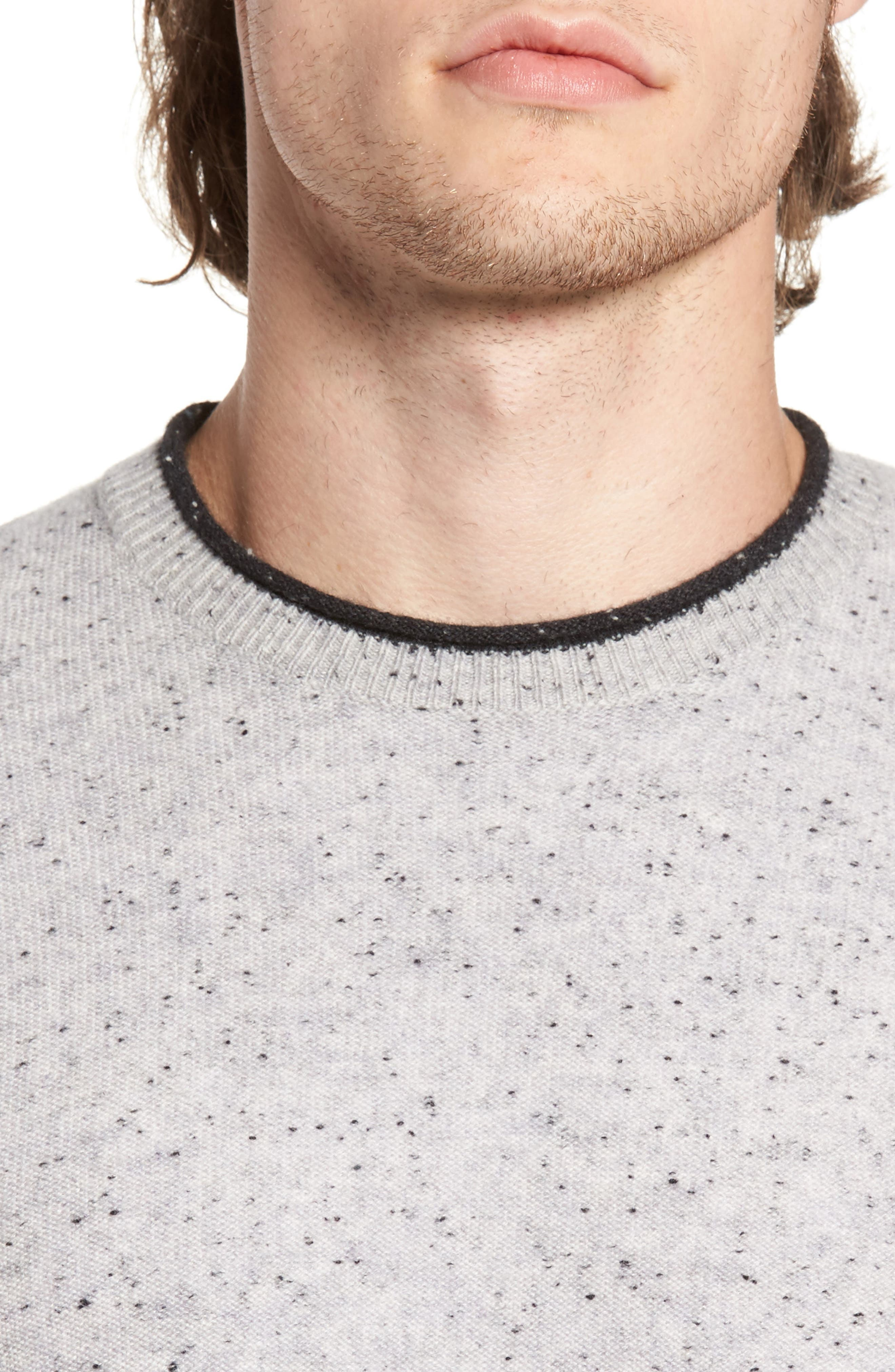Nep Wool & Cashmere Sweater,                             Alternate thumbnail 4, color,                             Grey Donegal