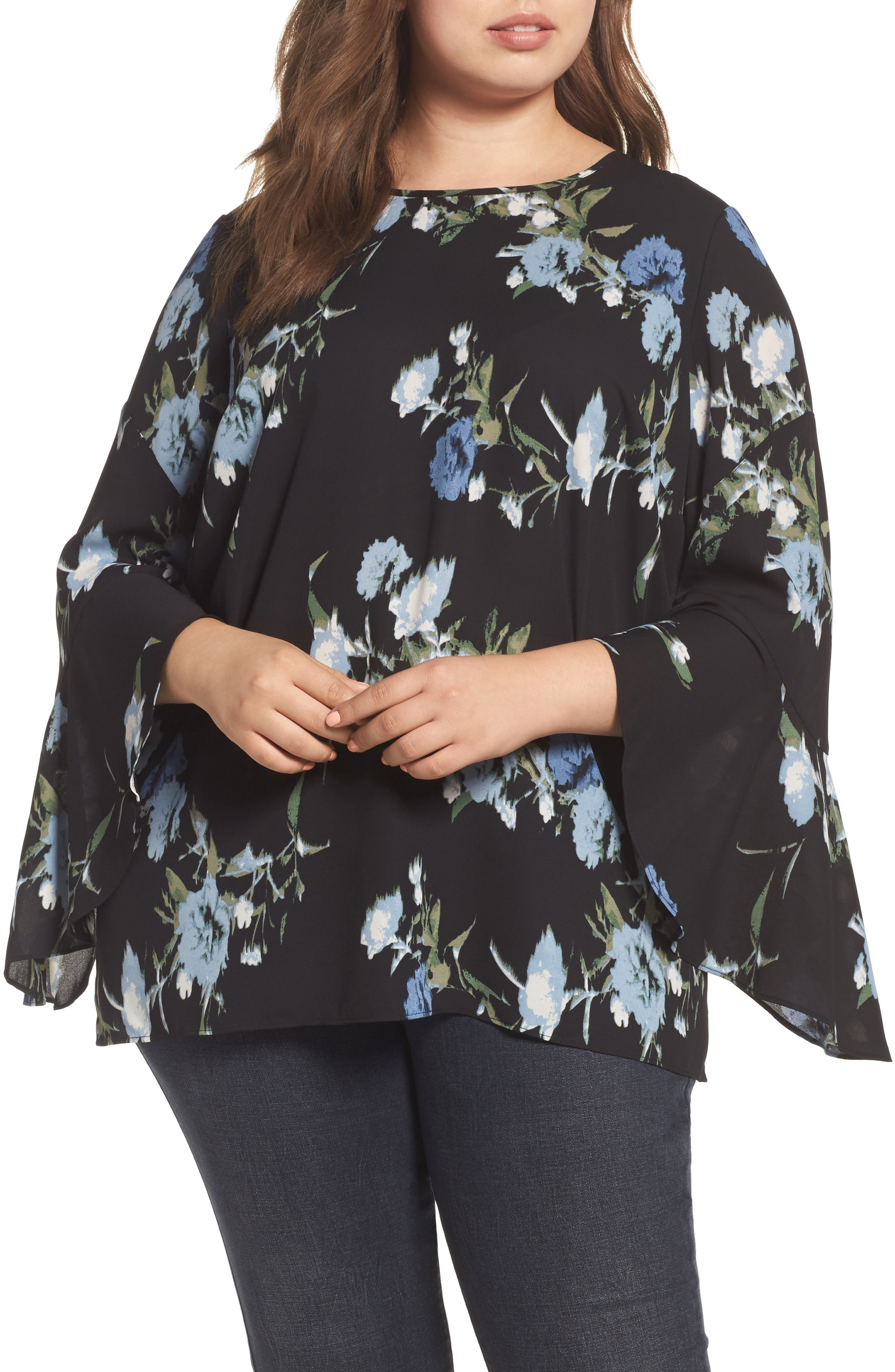 Windswept Bouquet Bell Sleeve Blouse,                         Main,                         color, Cameo Blue