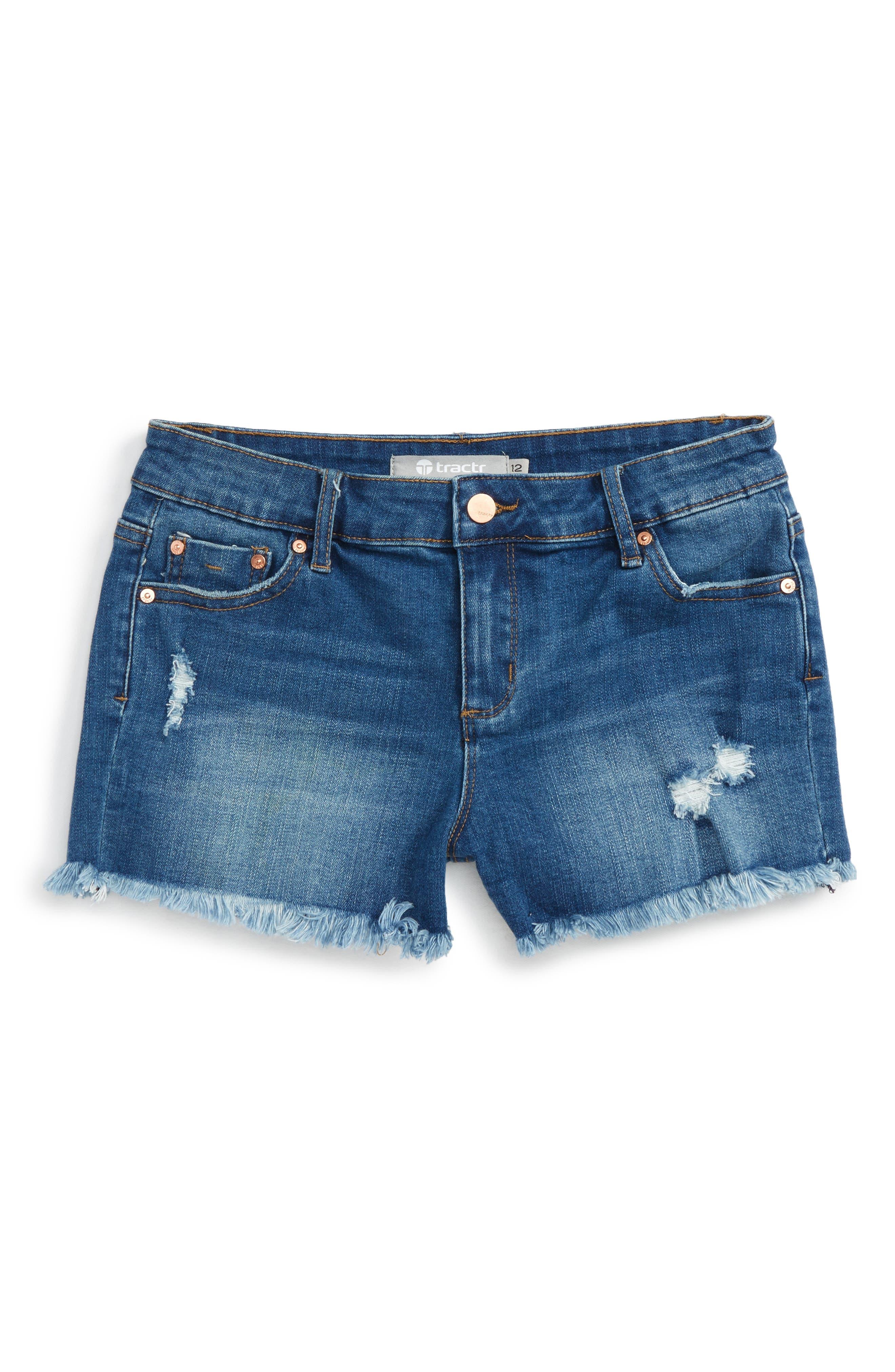 Main Image - Tractr Distressed Cutoff Denim Shorts (Big Girls)