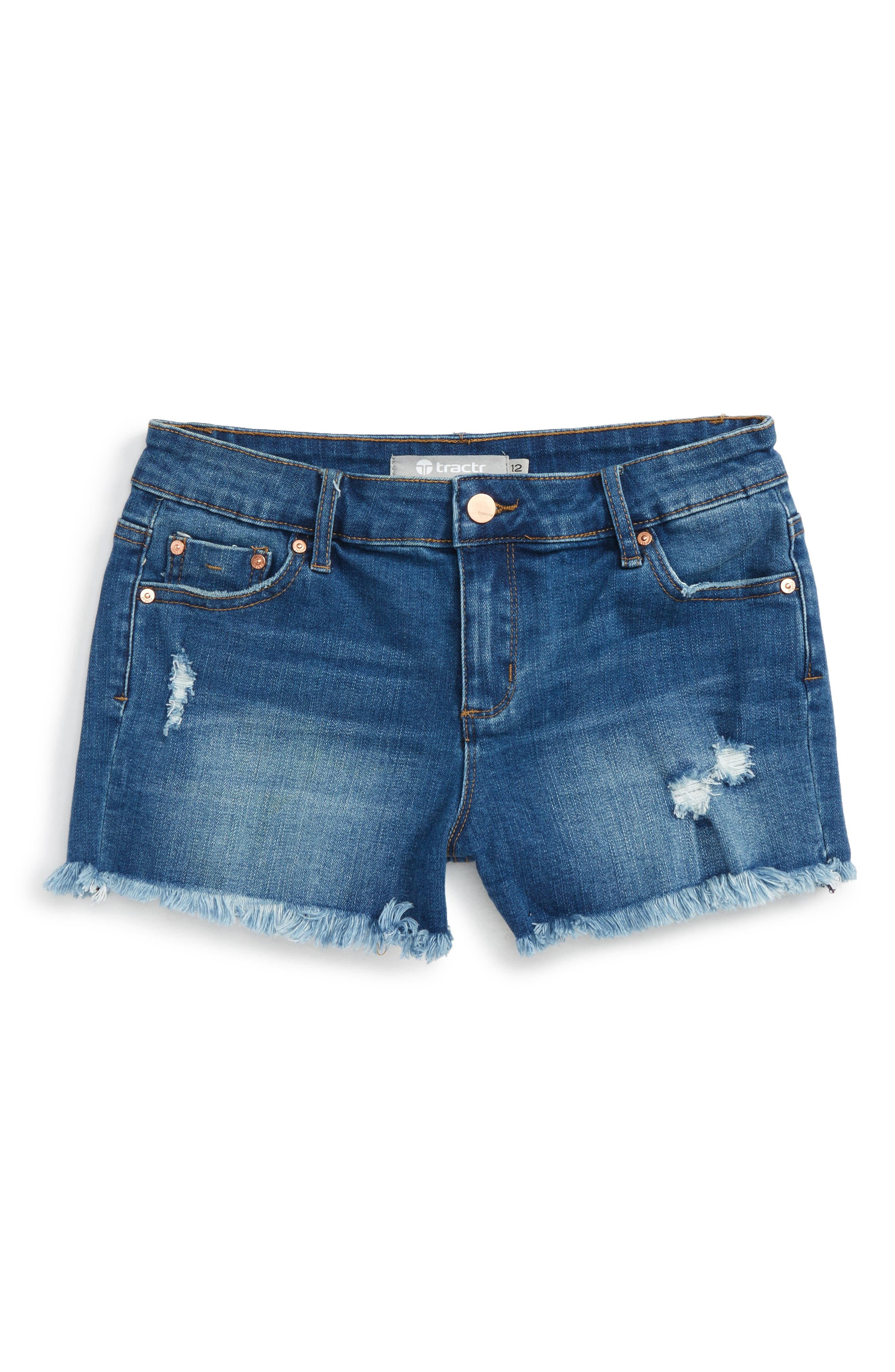 Distressed Cutoff Denim Shorts,                         Main,                         color, Dark Indigo