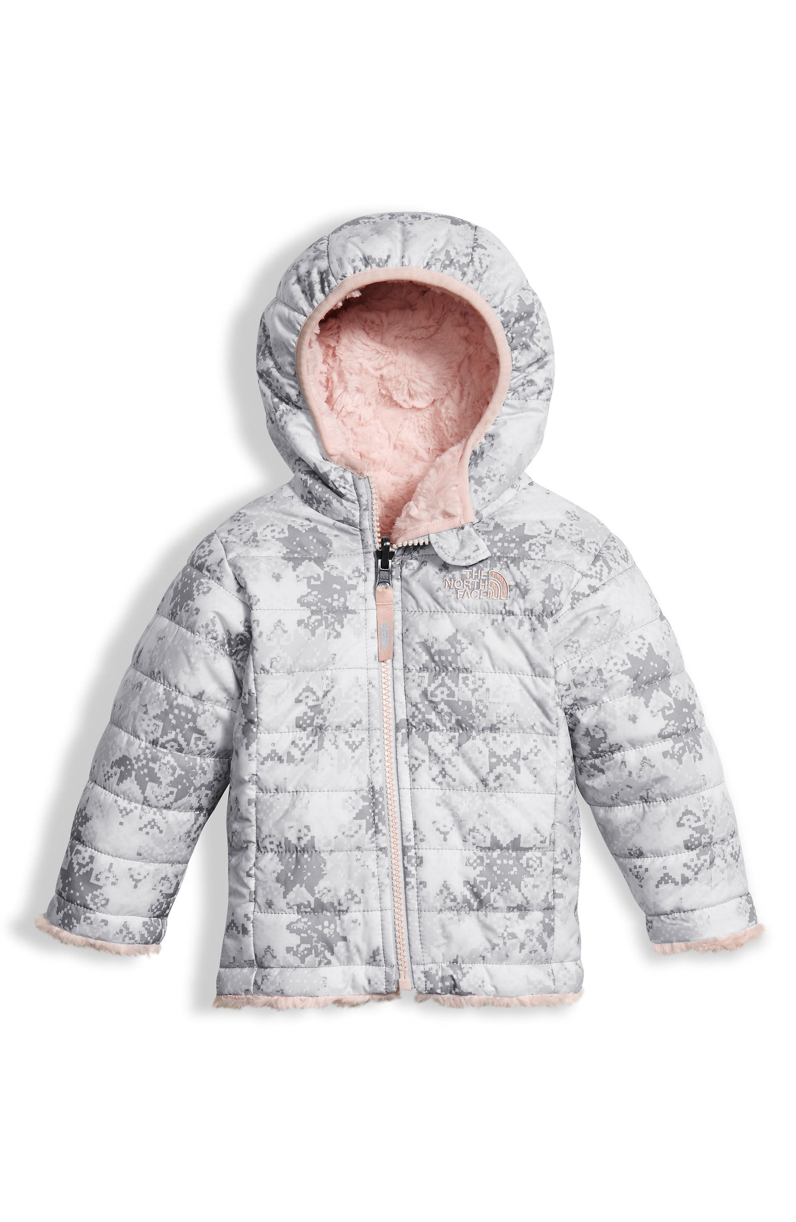 Mossbud Swirl Reversible Water Repellent Jacket,                         Main,                         color, Tnf White Snow