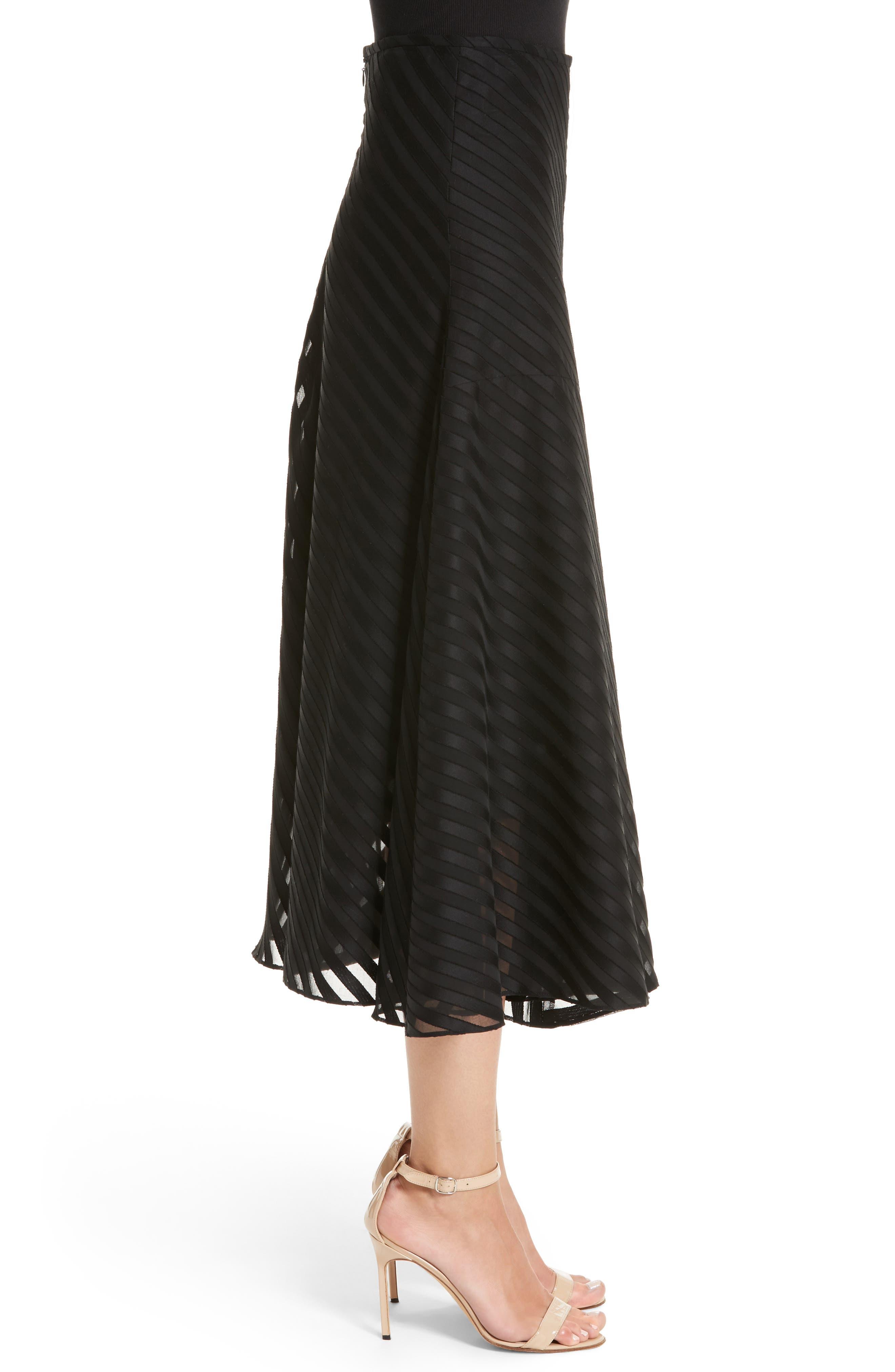 Alternate Image 3  - Akris Diagonal Stripe Cotton Voile Midi Skirt