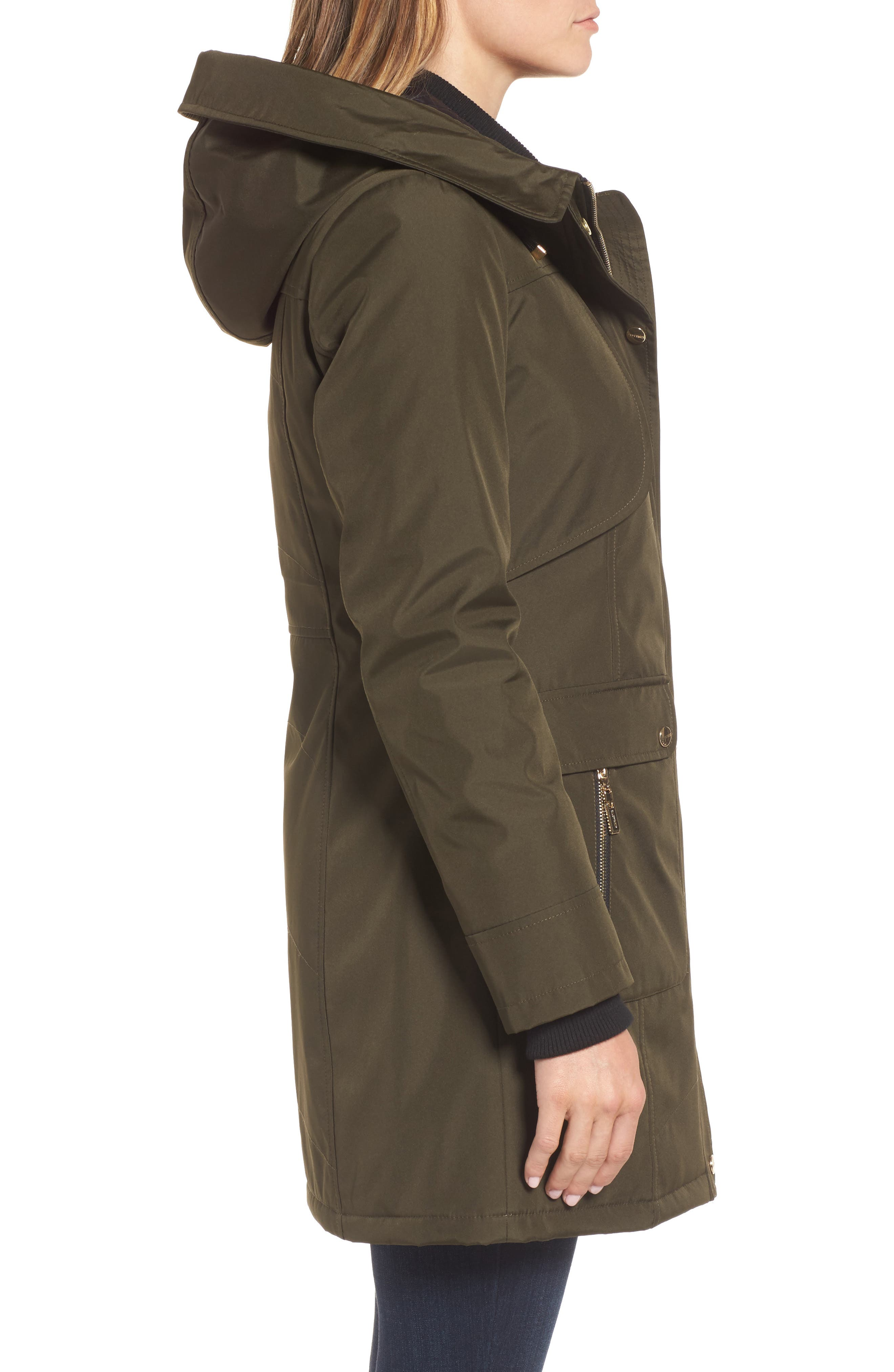 Quilted Techno Parka,                             Alternate thumbnail 3, color,                             Olive