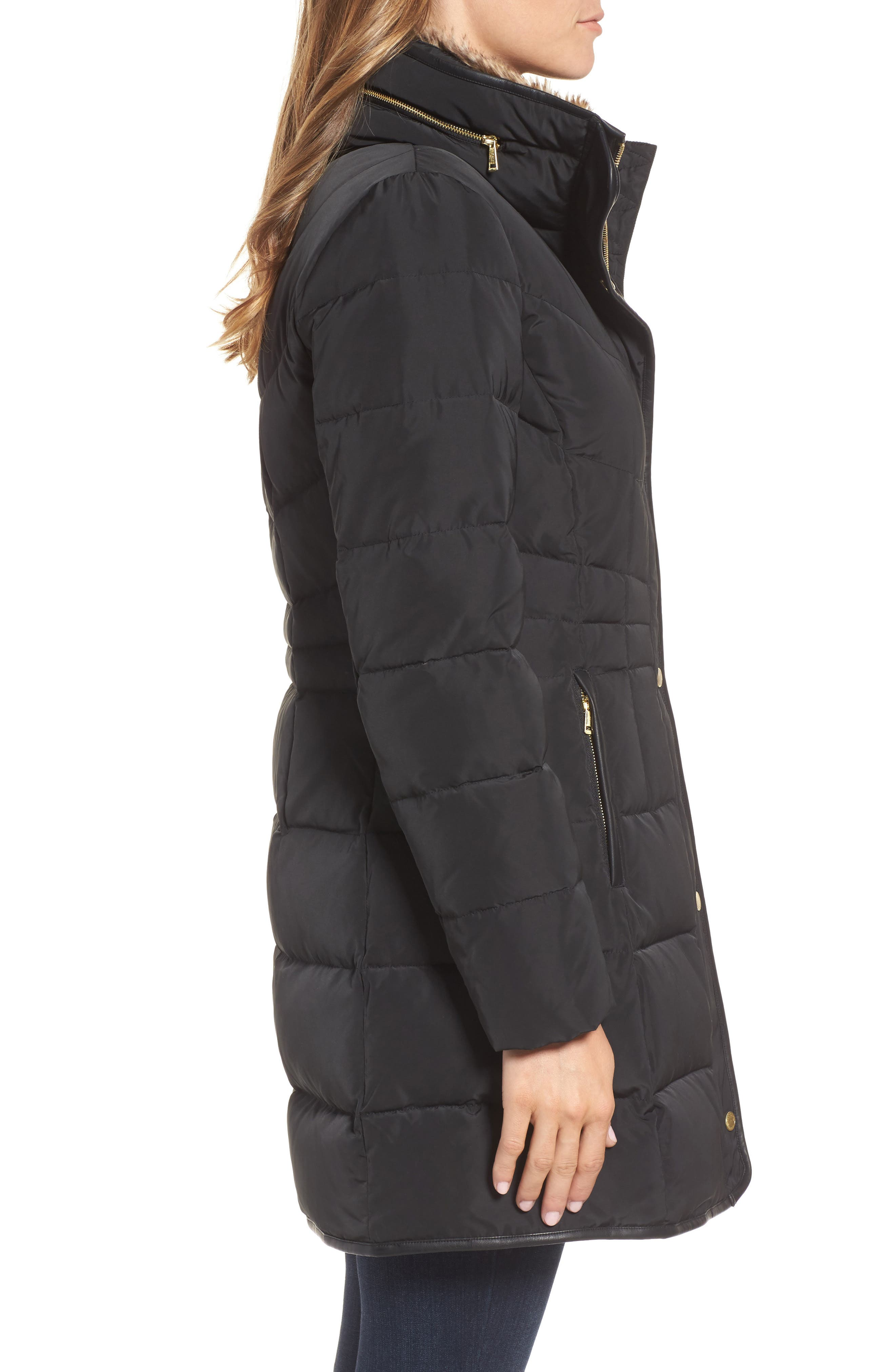 Alternate Image 3  - Cole Haan Quilted Down & Feather Fill Jacket with Faux Fur Trim