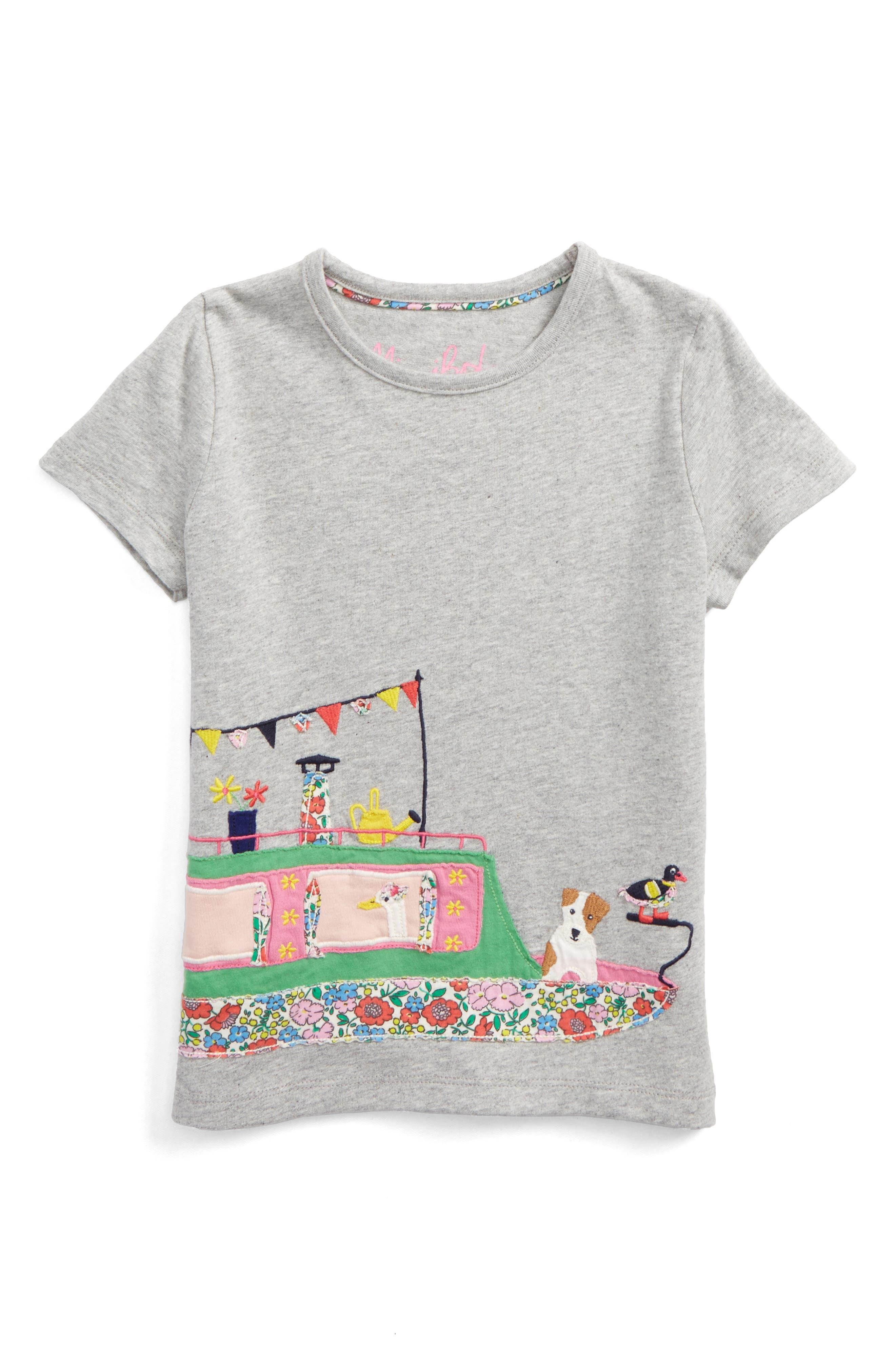 Main Image - Mini Boden Patchwork Appliqué Tee (Toddler Girls, Little Girls & Big Girls)