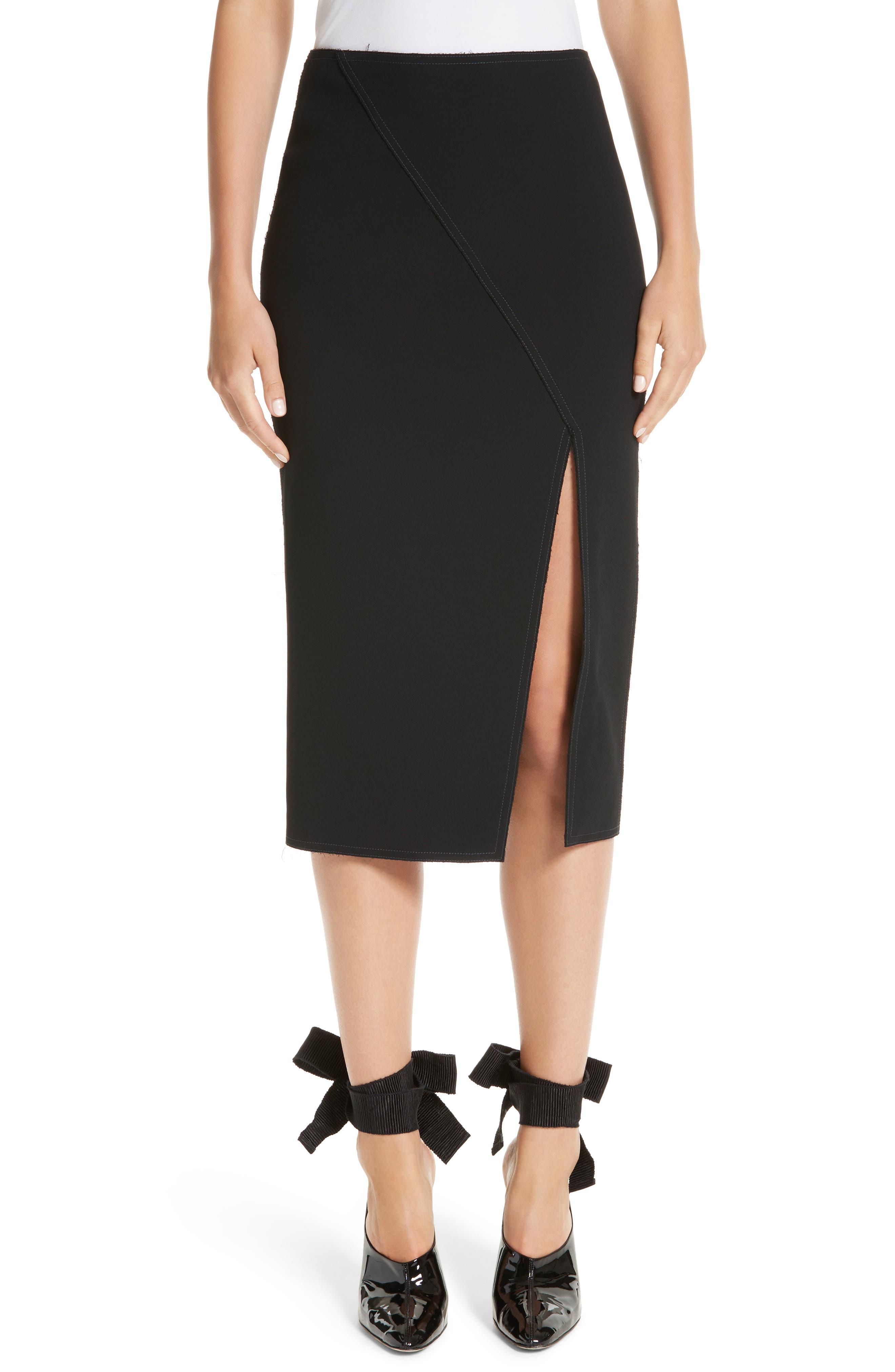 Compact Crepe Pencil Skirt,                         Main,                         color, Black