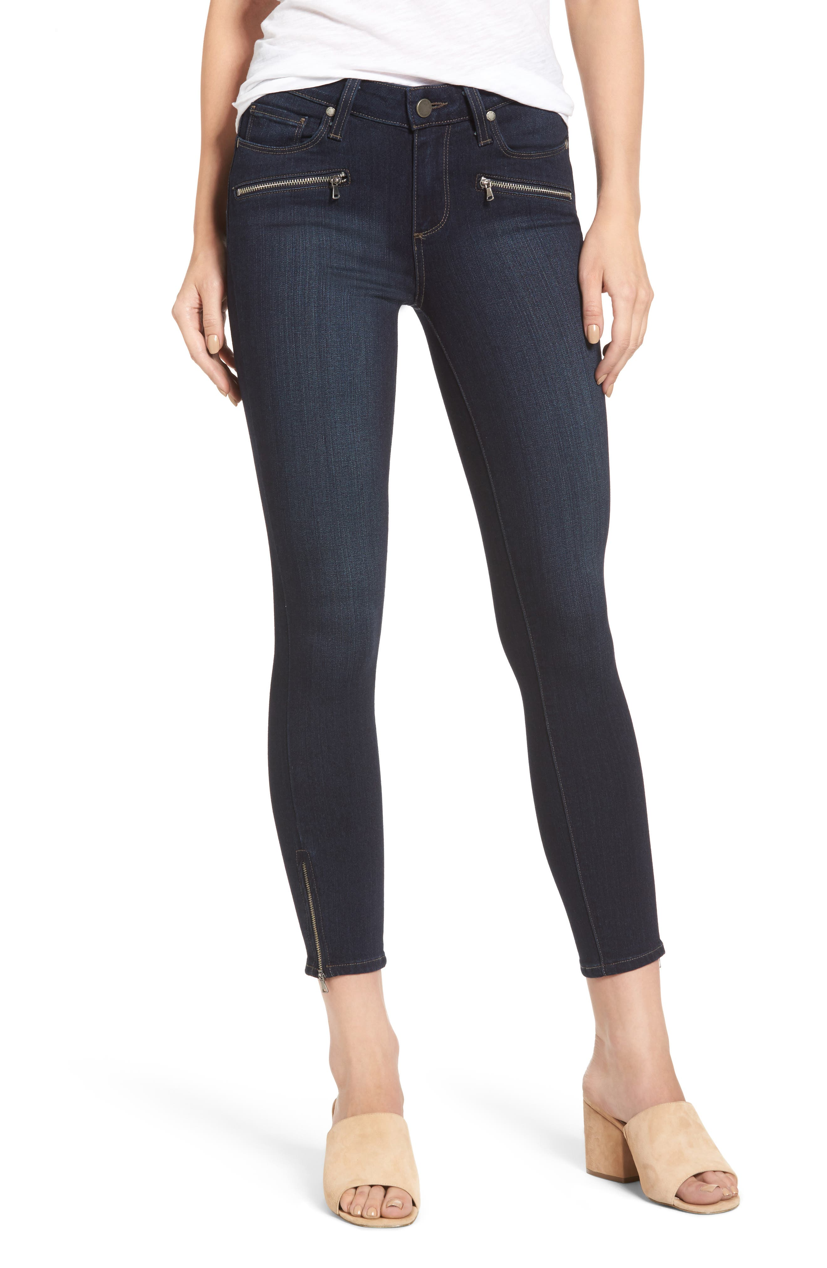 Transcend - Jane Zip Crop Skinny Jeans,                             Main thumbnail 1, color,                             Elsie No Whiskers