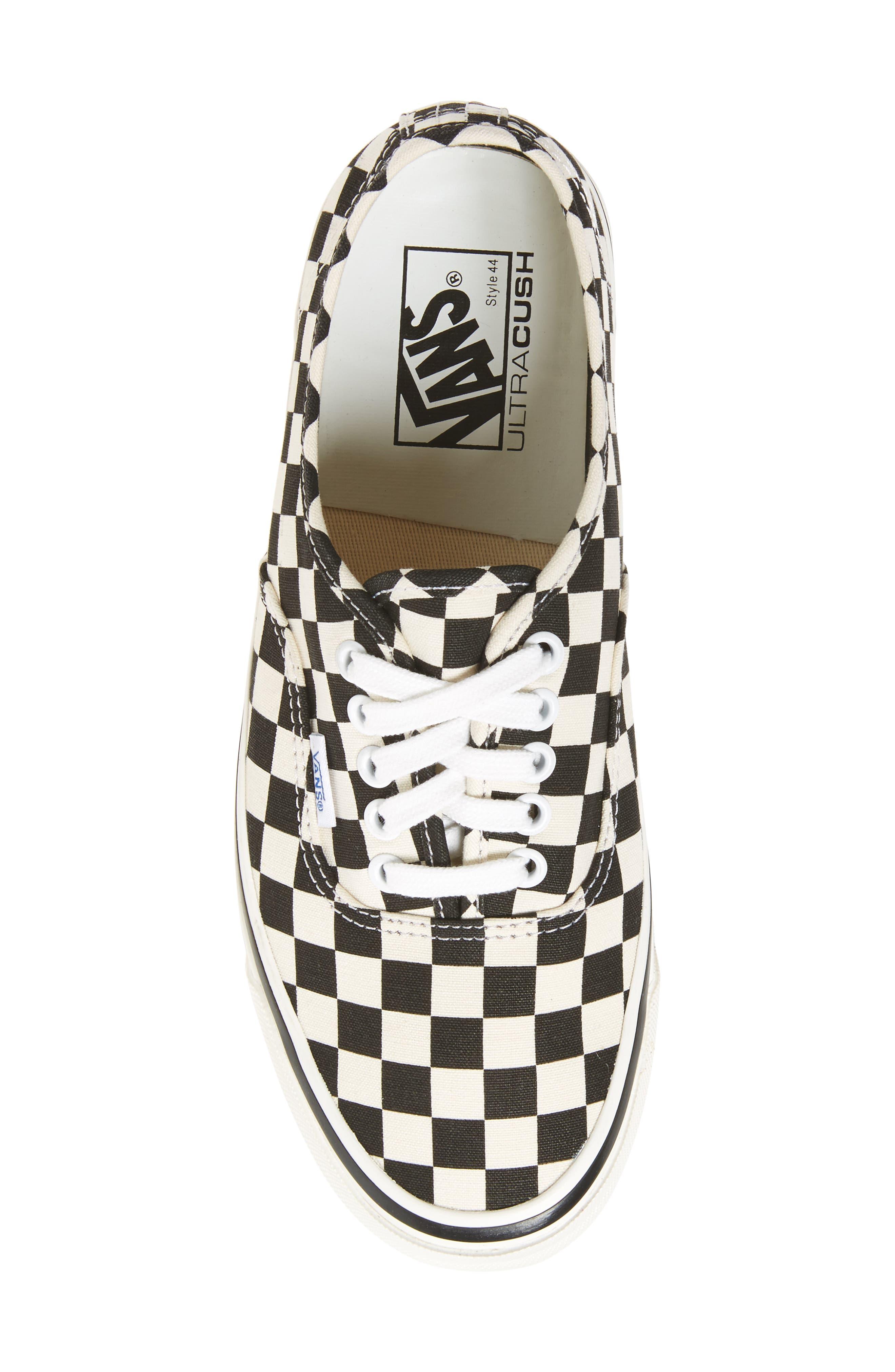 UA Authentic 44 DX Sneaker,                             Alternate thumbnail 5, color,                             Black/ Check Canvas