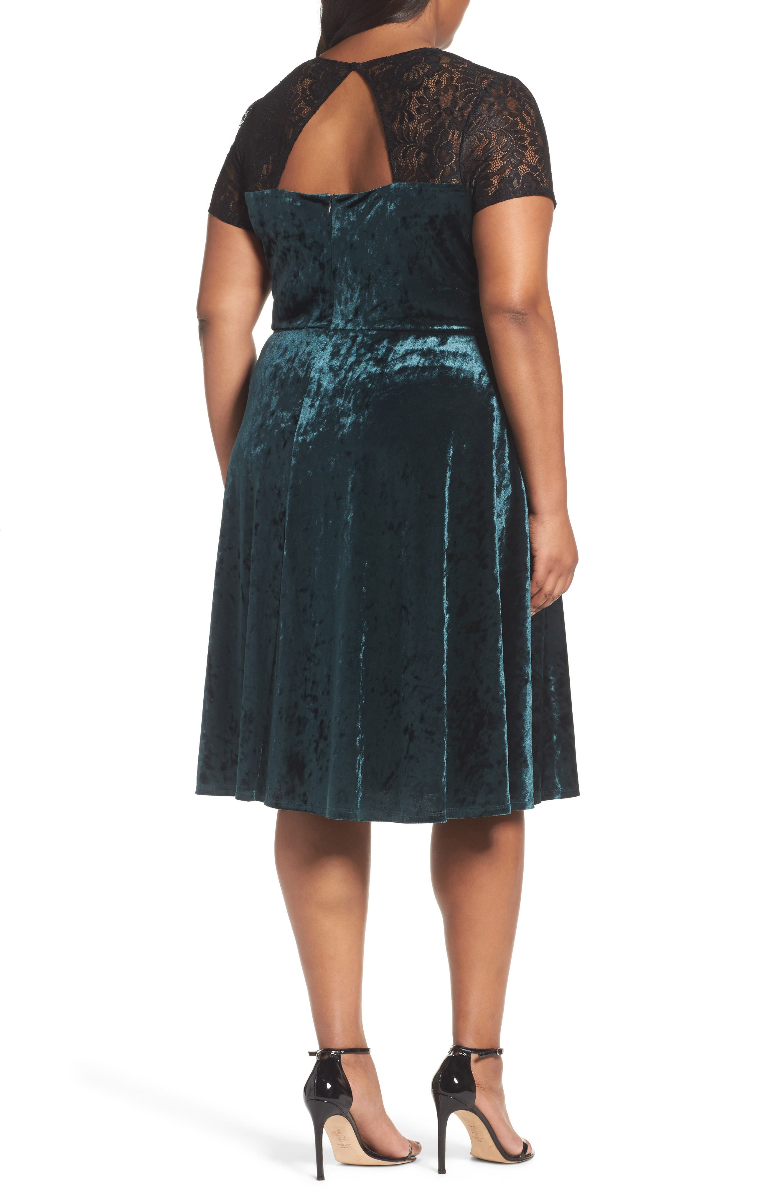 Alternate Image 2  - Sangria Lace Yoke Velvet Fit & Flare Dress (Plus Size)