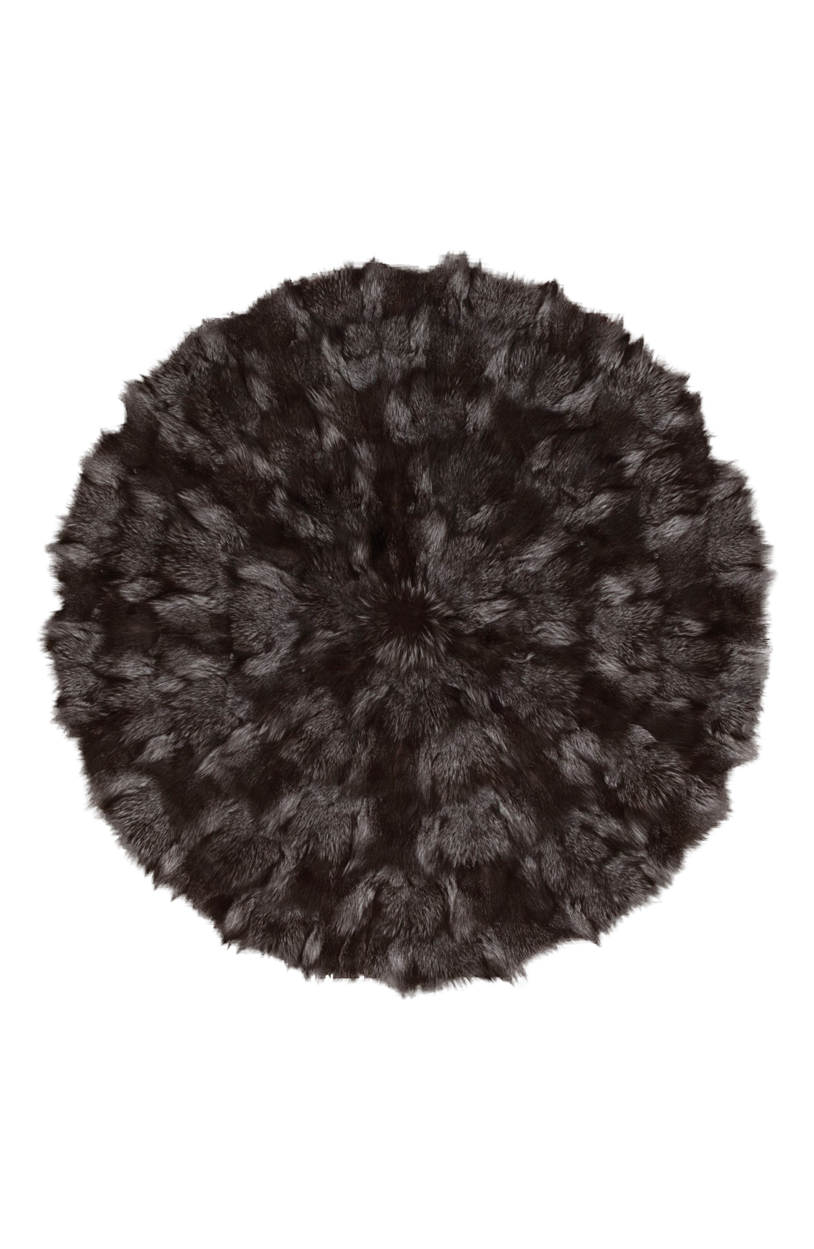 Genuine Fox Fur Round Rug,                         Main,                         color, Dark Grey