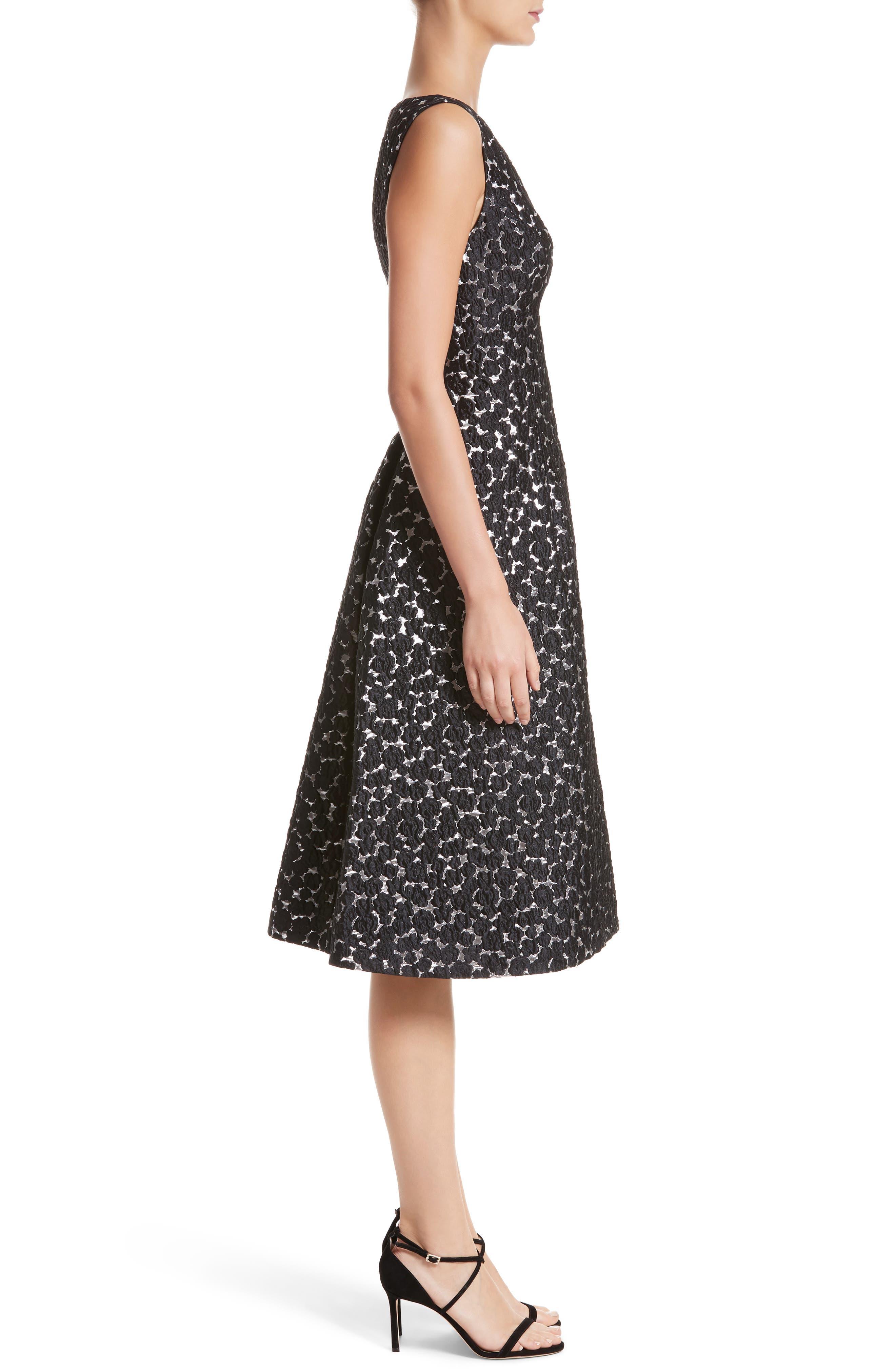 Floral Matelassé A-Line Dress,                             Alternate thumbnail 3, color,                             Black / Silver