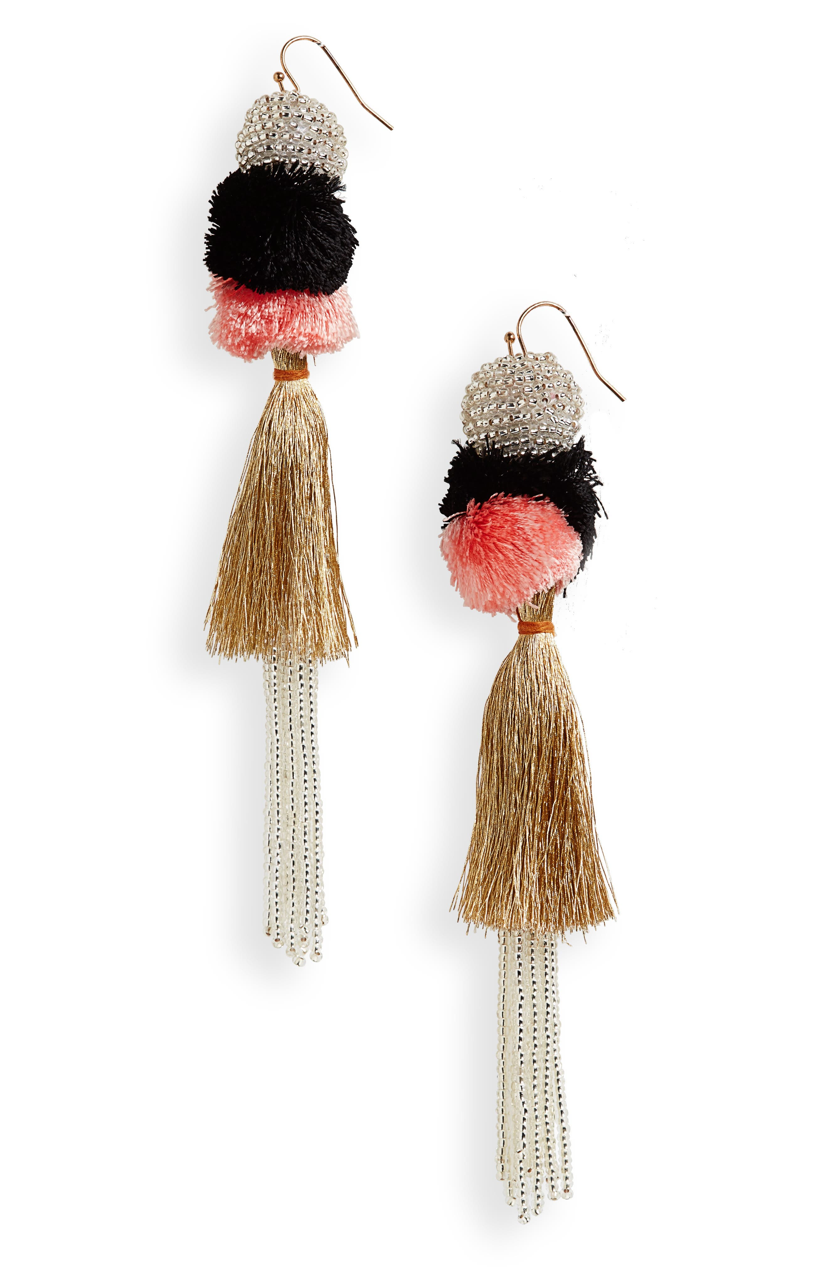 Tiered Tassel Earrings,                             Main thumbnail 1, color,                             Cameo/ Gold