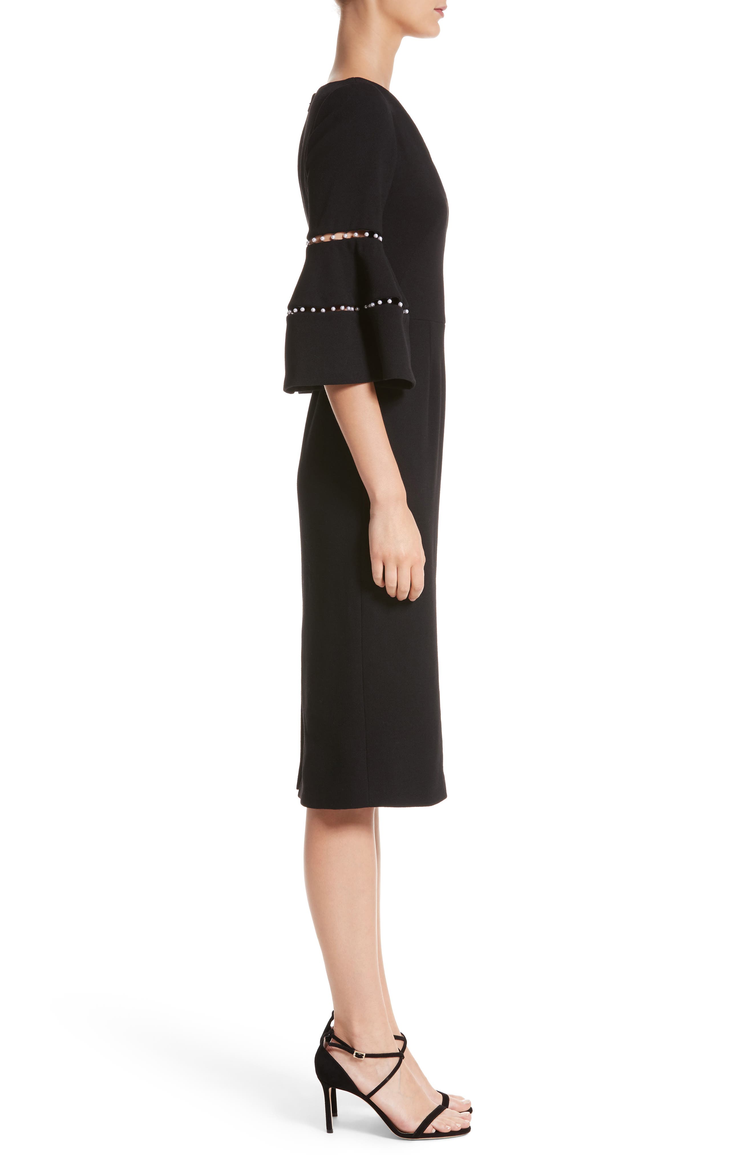 Pearly Trim Bell Sleeve Dress,                             Alternate thumbnail 3, color,                             Black