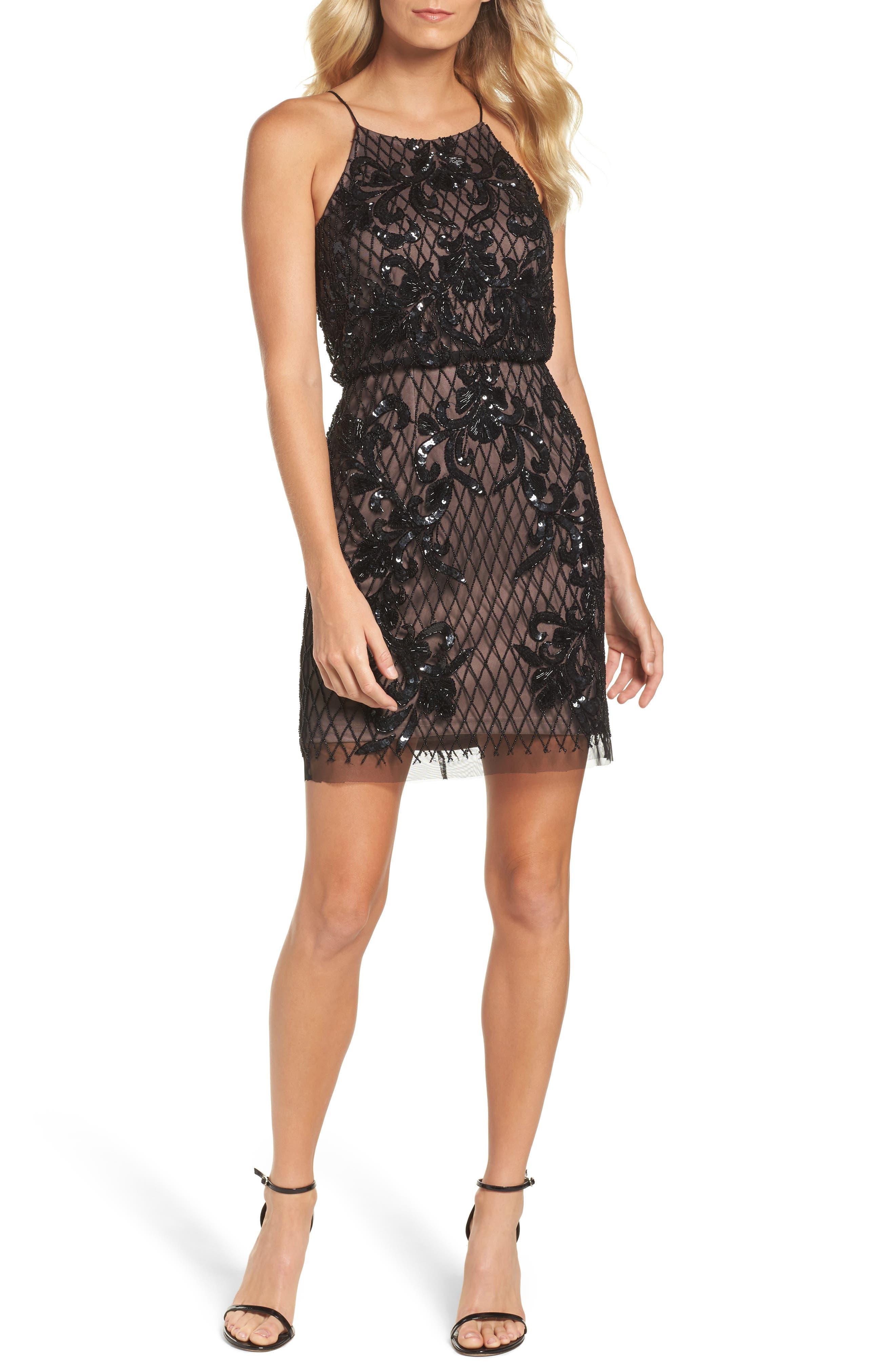 Embellished Blouson Minidress,                         Main,                         color, Black Nude