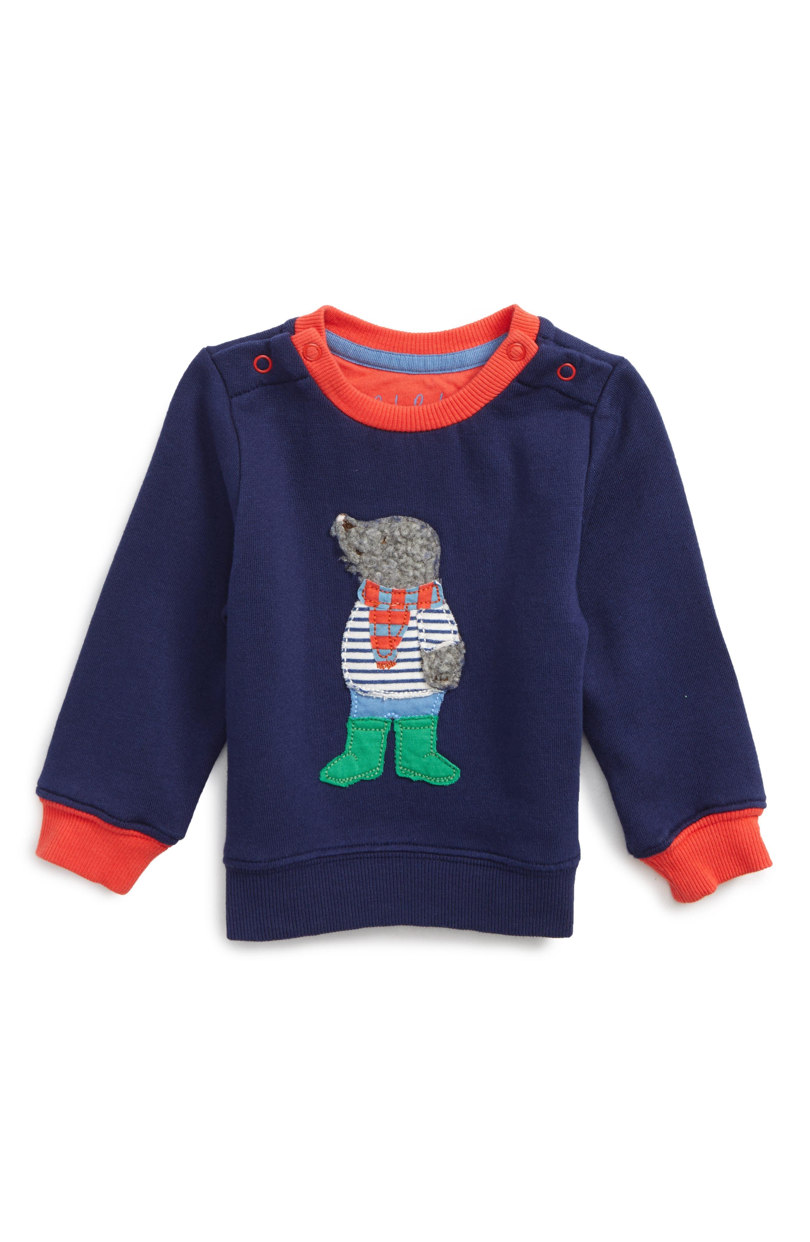 Main Image - Mini Boden Appliqué Cozy Sweatshirt (Baby Boys & Toddler Boys)