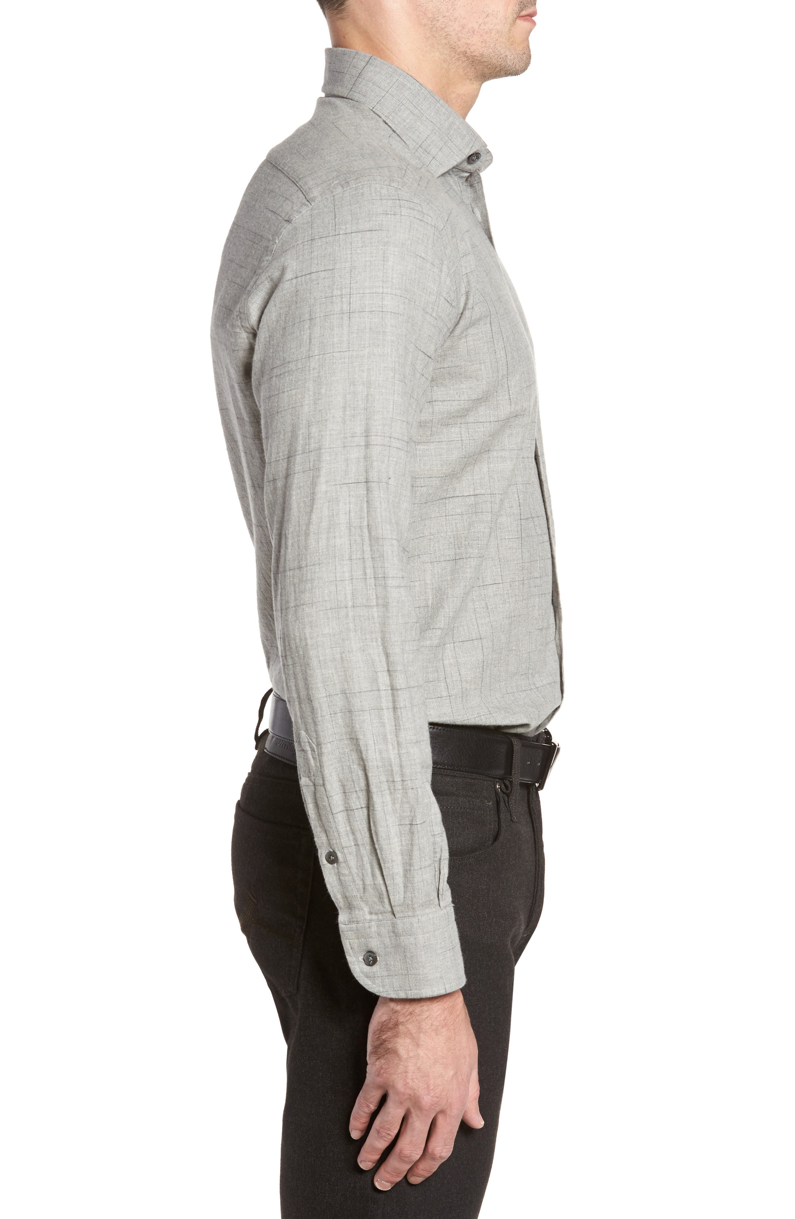 Broken Plaid Sport Shirt,                             Alternate thumbnail 3, color,                             Light Grey