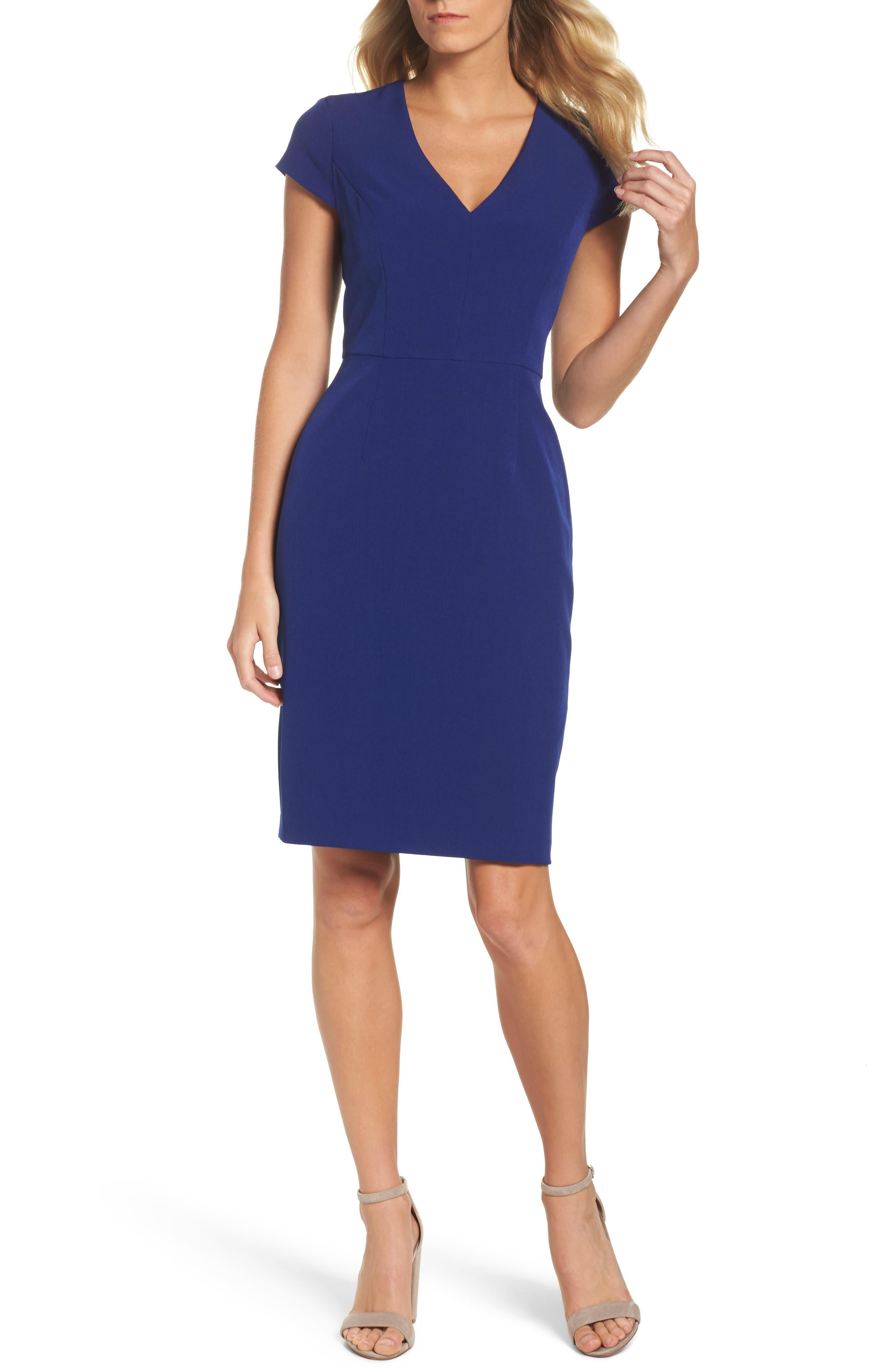 Crepe Sheath Dress,                         Main,                         color, Deep Lapis