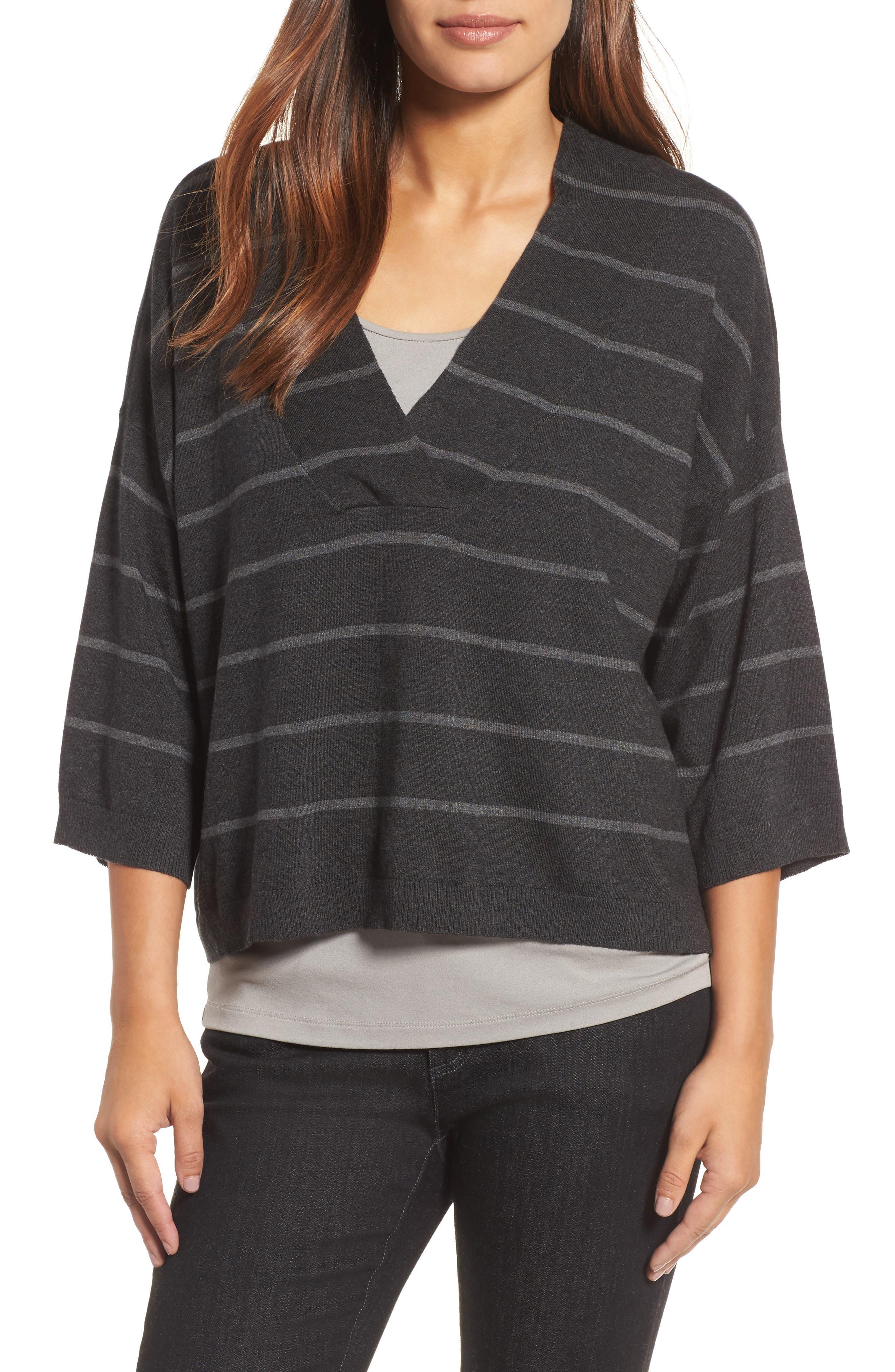 Main Image - Eileen Fisher Stripe Tencel® Blend Crop Sweater