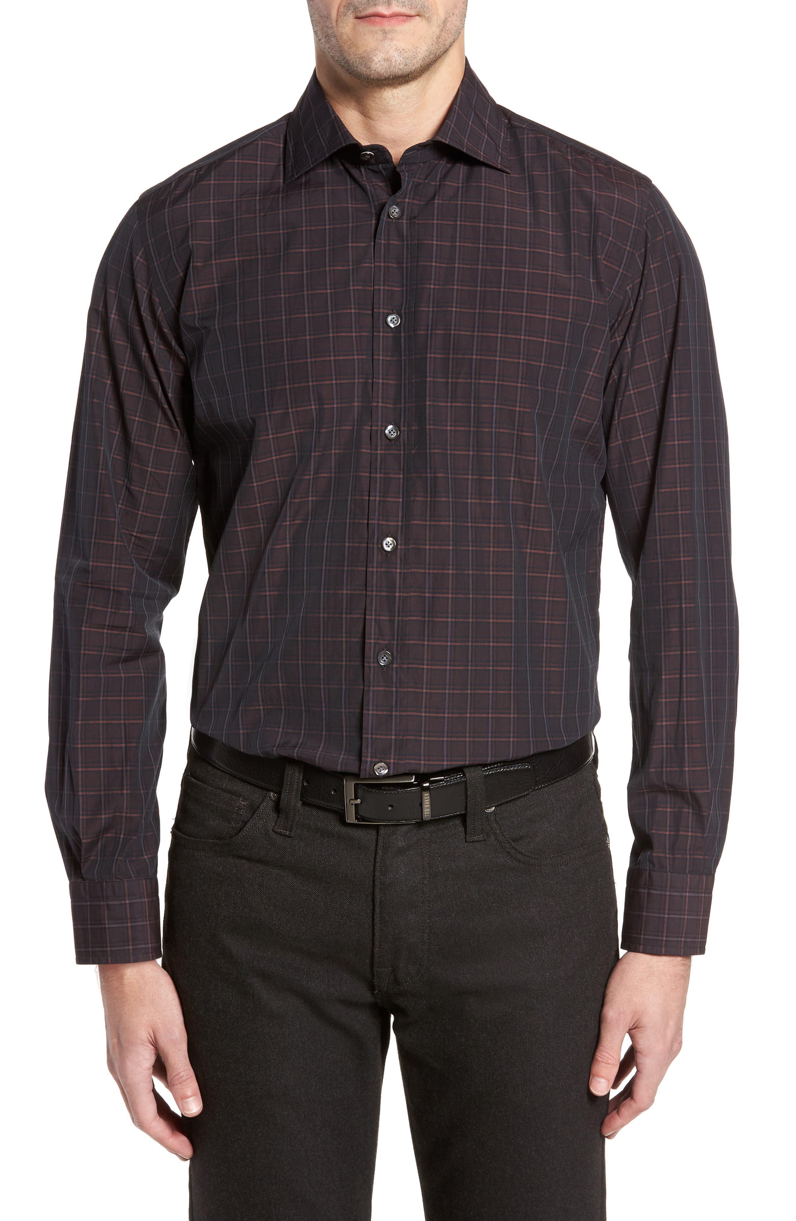 Trim Fit Windowpane Print Sport Shirt,                         Main,                         color, Dark Red