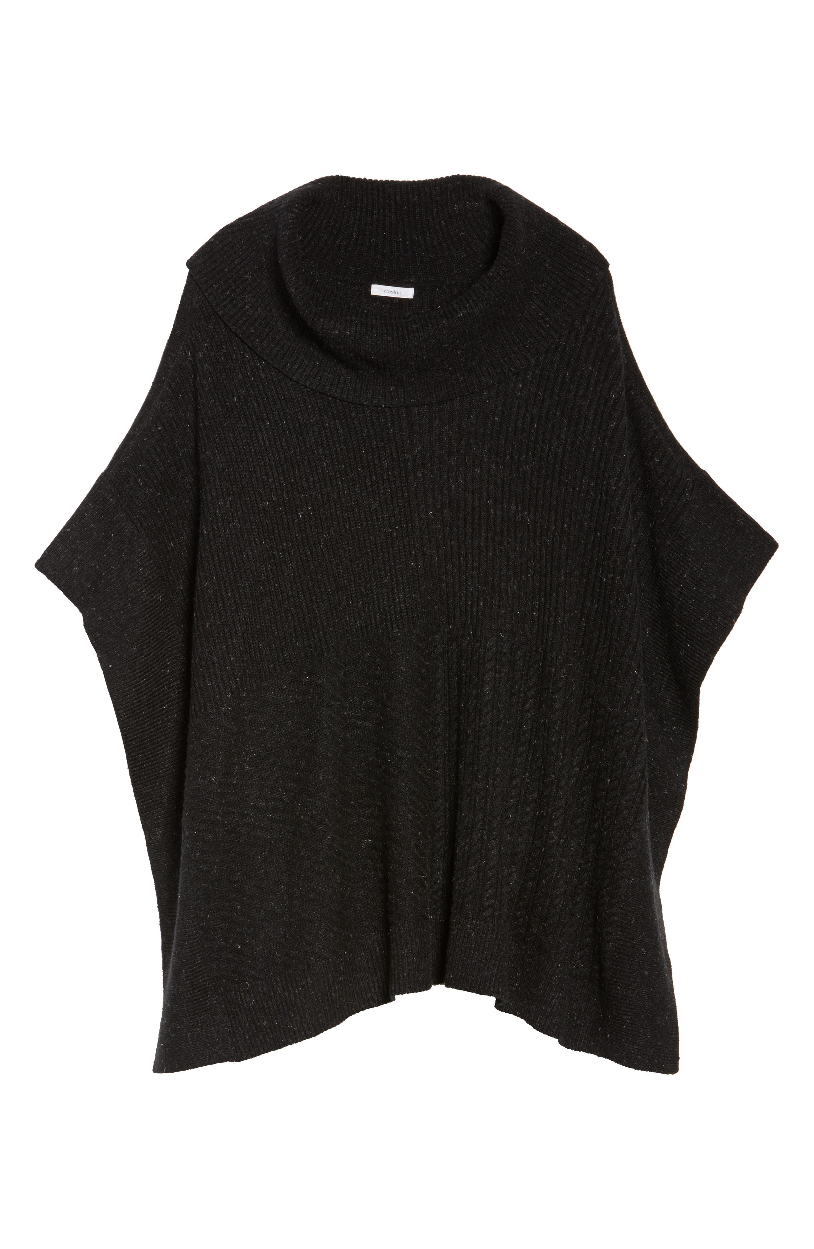 Mixed Stitch Poncho Sweater,                             Alternate thumbnail 6, color,                             Black