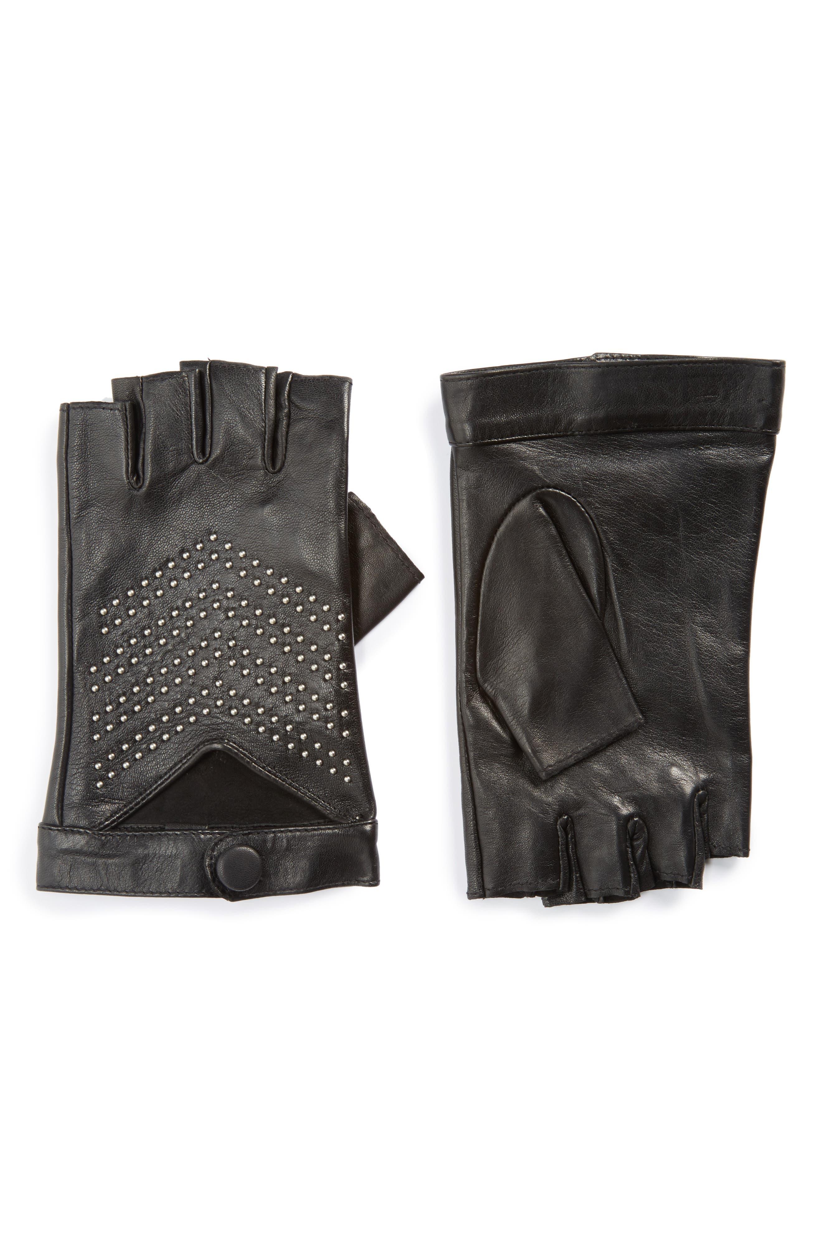 Swinley Fingerless Lambskin Leather Gloves,                         Main,                         color, Black