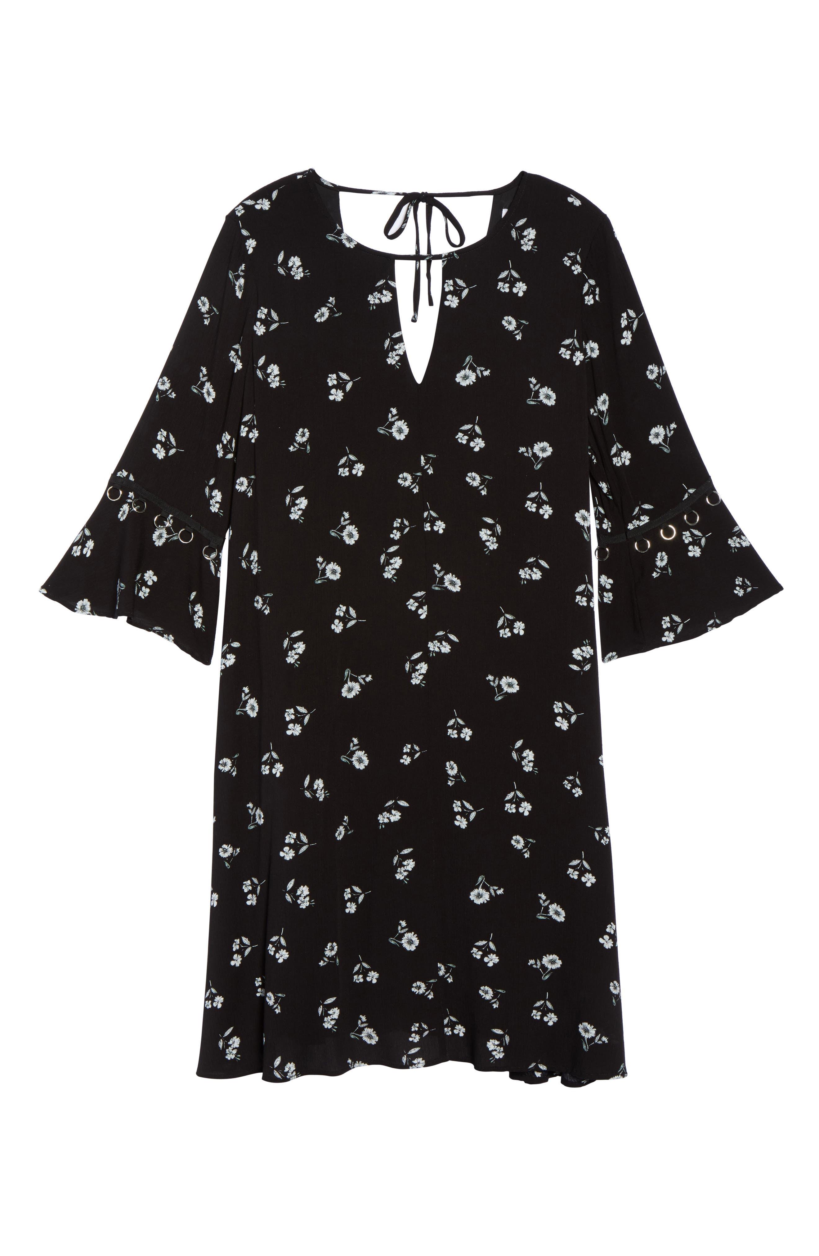 Bell Sleeve Floral Shift Dress,                             Alternate thumbnail 6, color,                             Black White Daisy