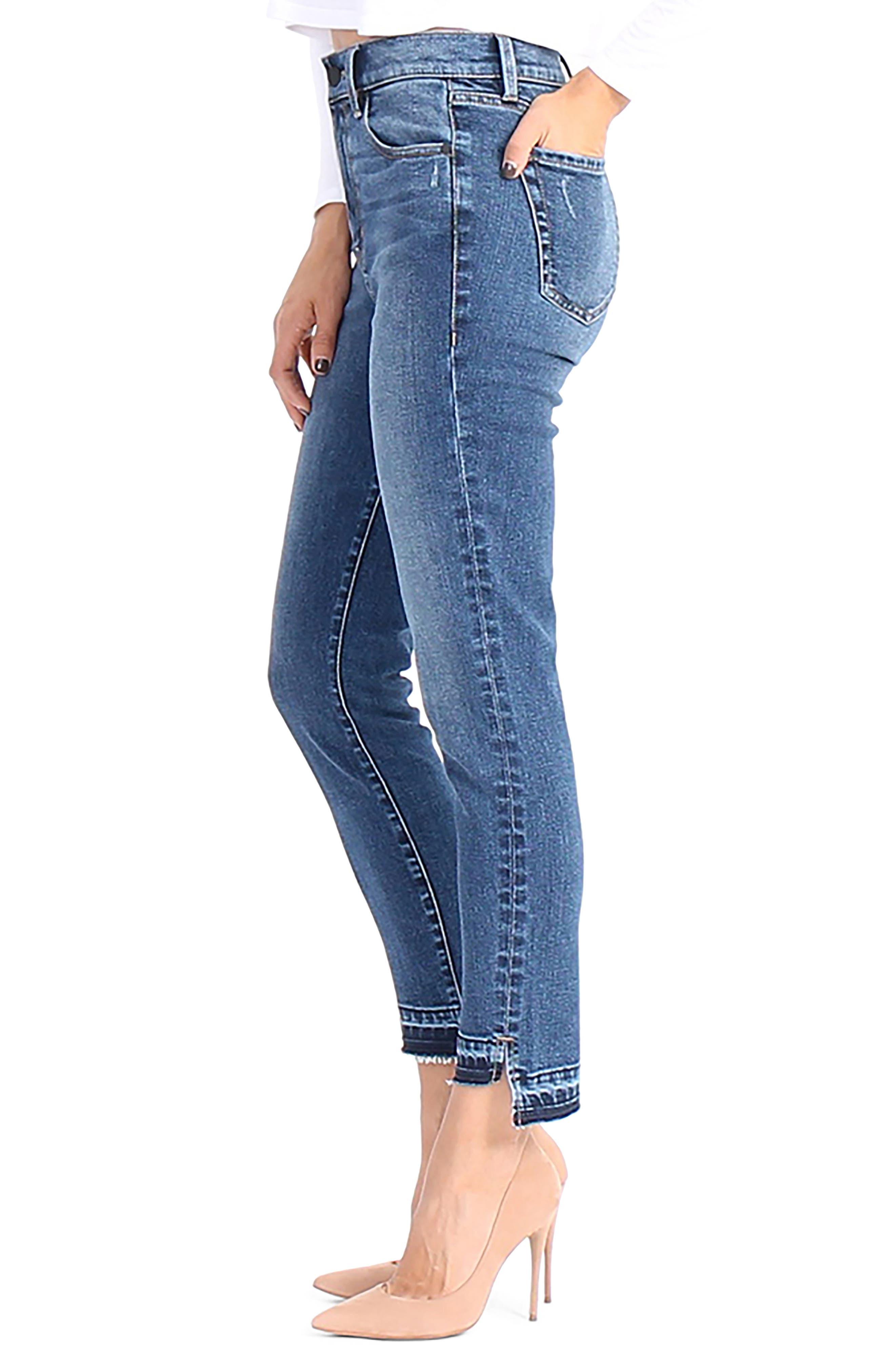 Elle Uneven Hem Skinny Jeans,                             Alternate thumbnail 3, color,                             After Glow