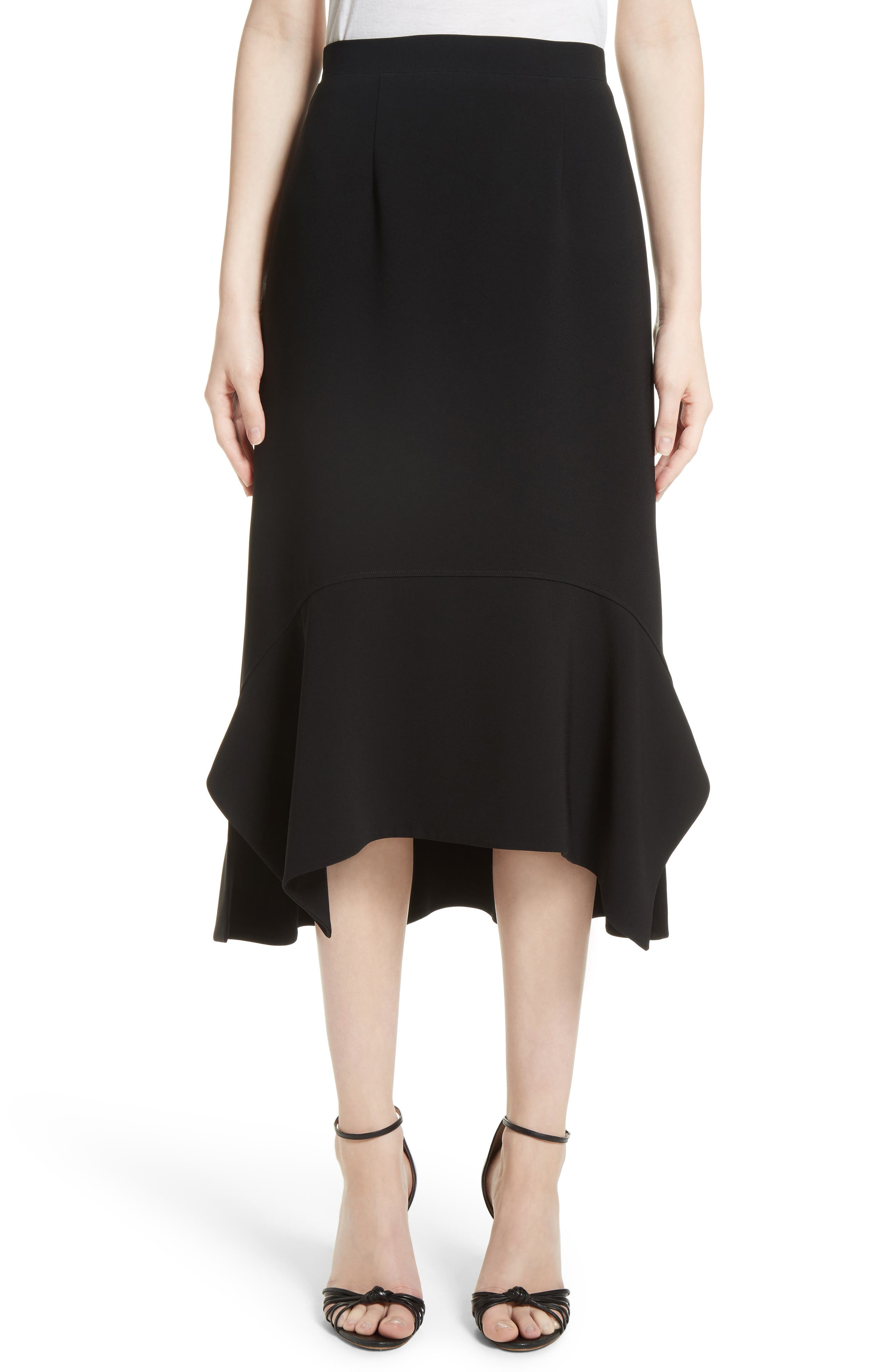 Drape Hem Midi Skirt,                             Main thumbnail 1, color,                             Black