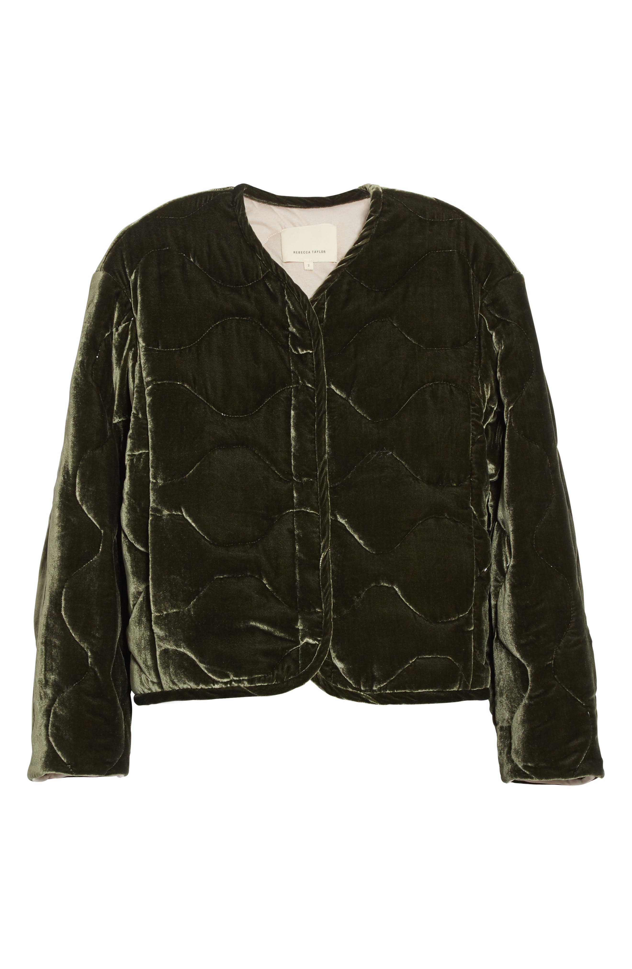 Alternate Image 7  - Rebecca Taylor Quilted Velvet Jacket