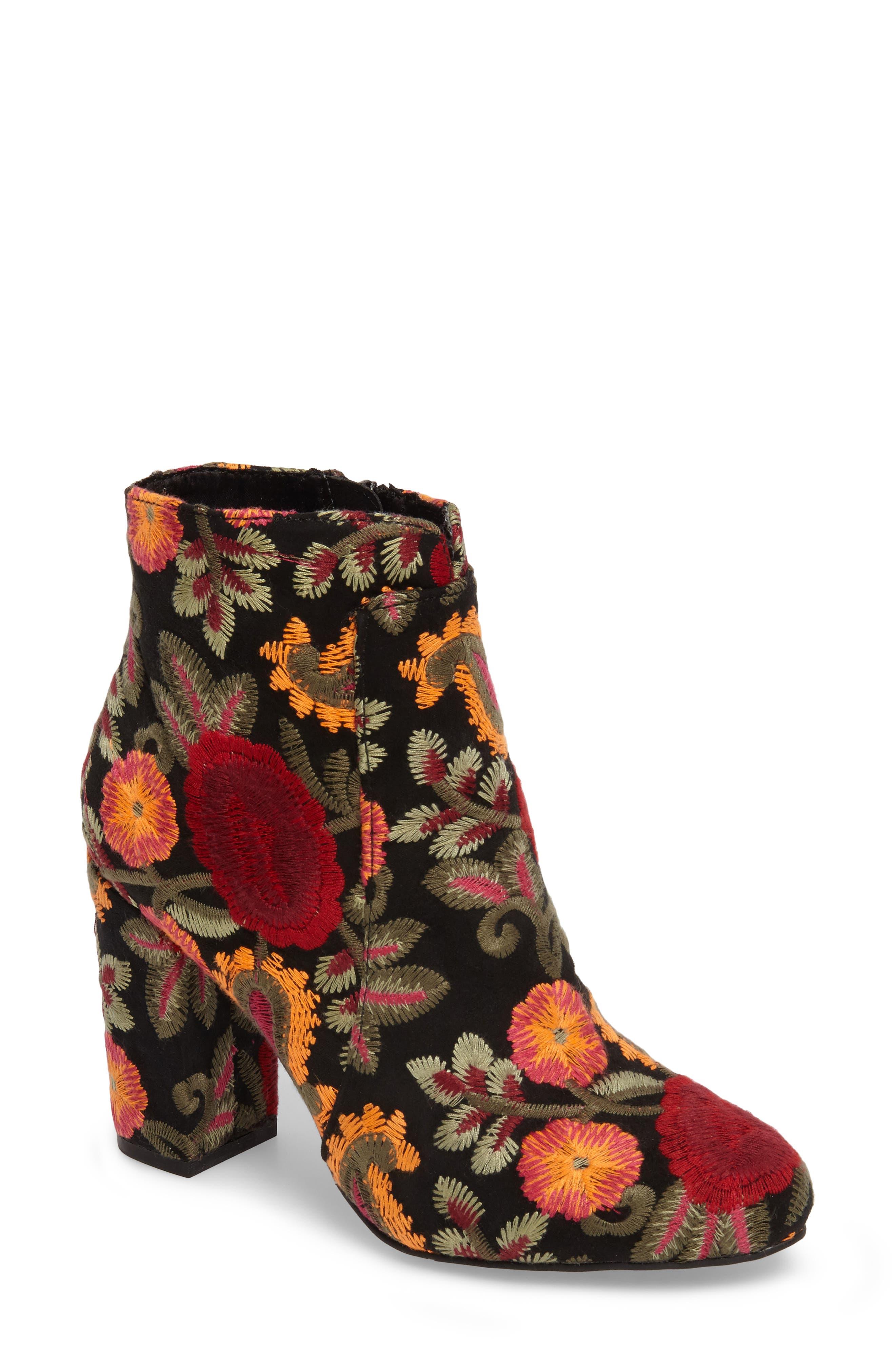 Rosebud Bootie,                         Main,                         color, Black Flores