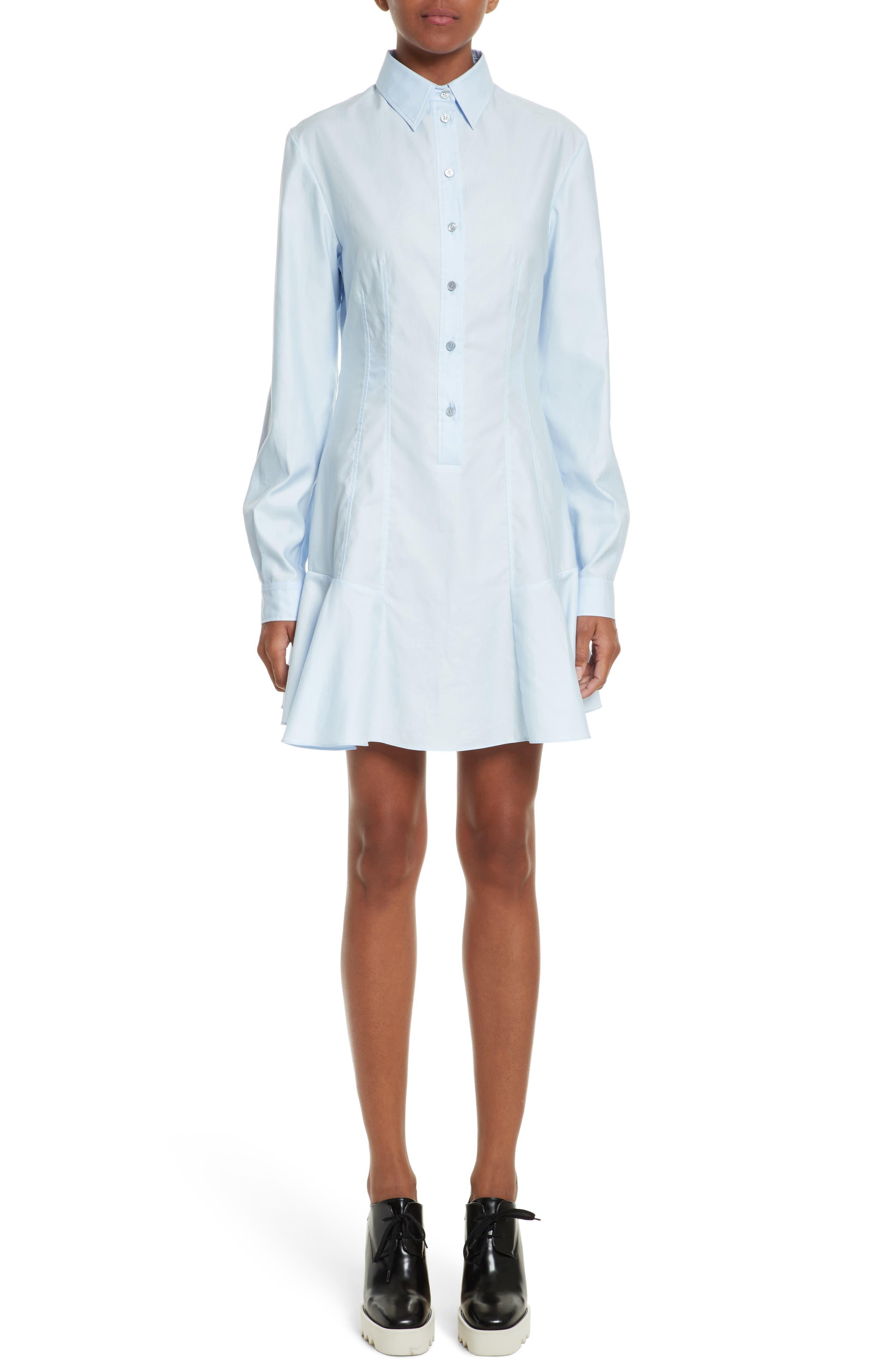 Carina Cotton Poplin Shirtdress,                         Main,                         color, Oxford Blue