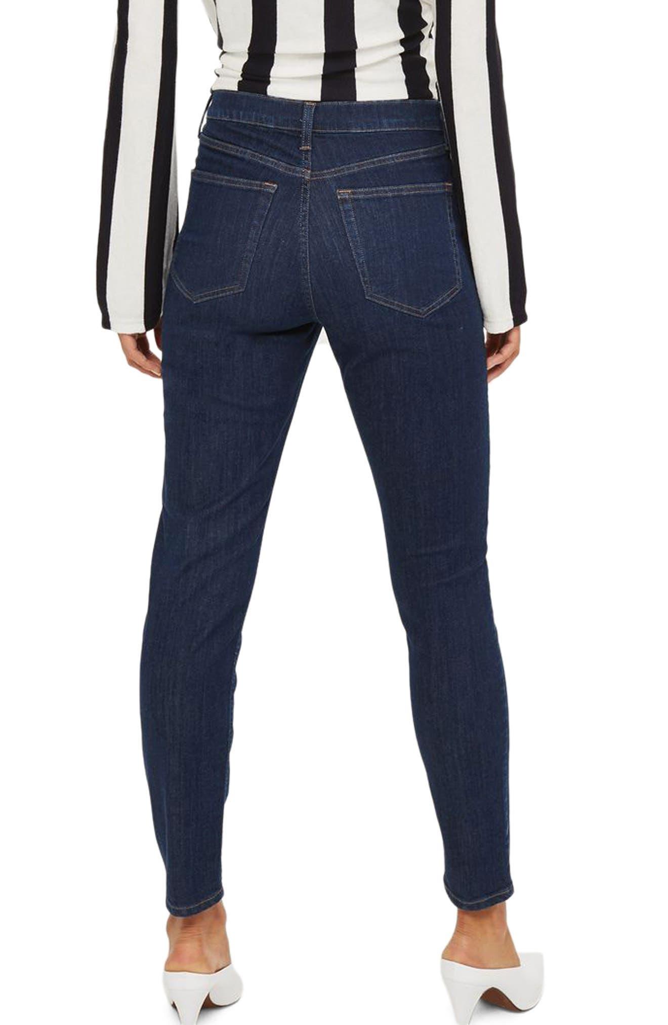 Jamie High Waist Ankle Skinny Jeans,                             Alternate thumbnail 2, color,                             Dark Denim