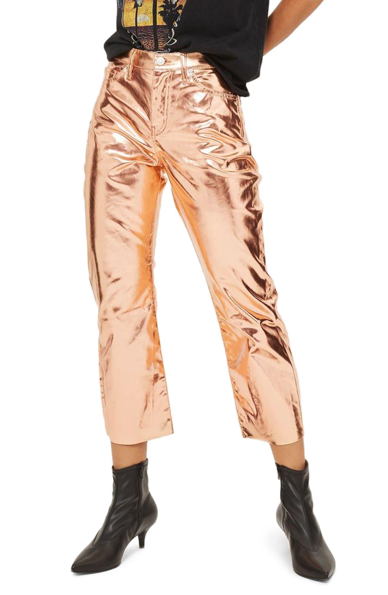 Dree Metallic Flare Jeans,                         Main,                         color, Copper