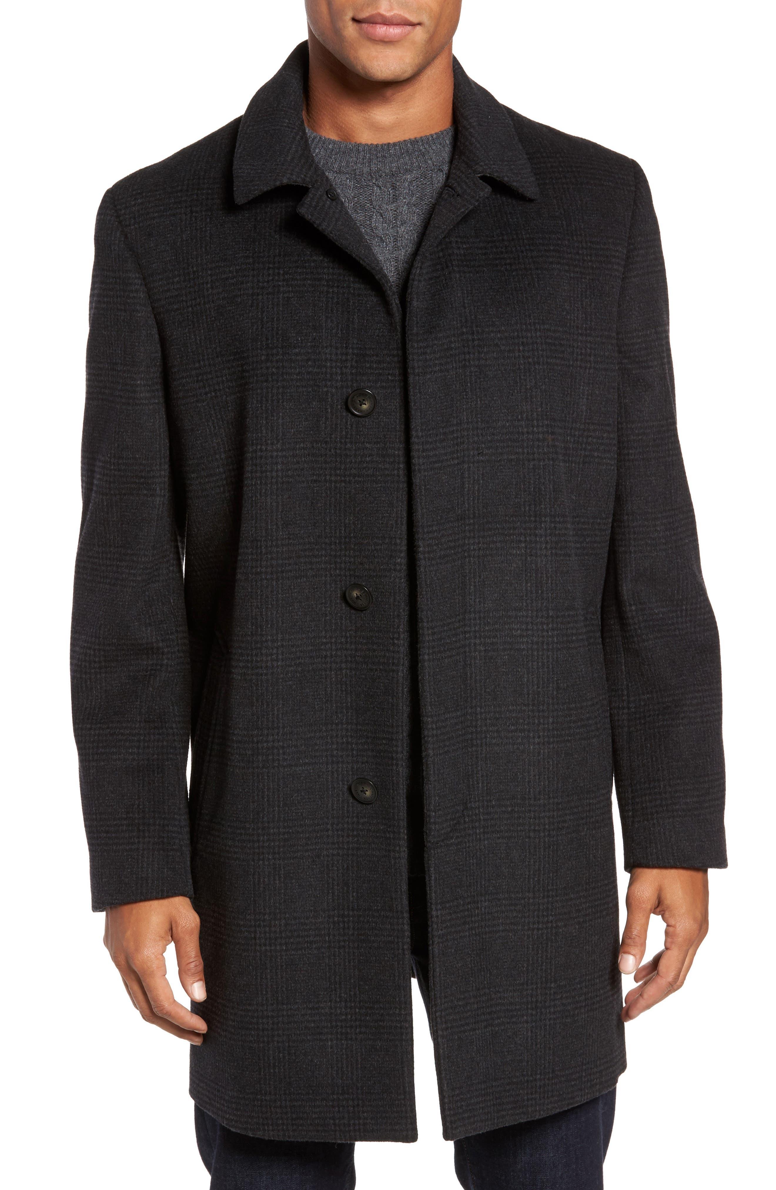 Turner Plaid Wool Blend Topcoat,                             Main thumbnail 1, color,                             Dark Charcoal