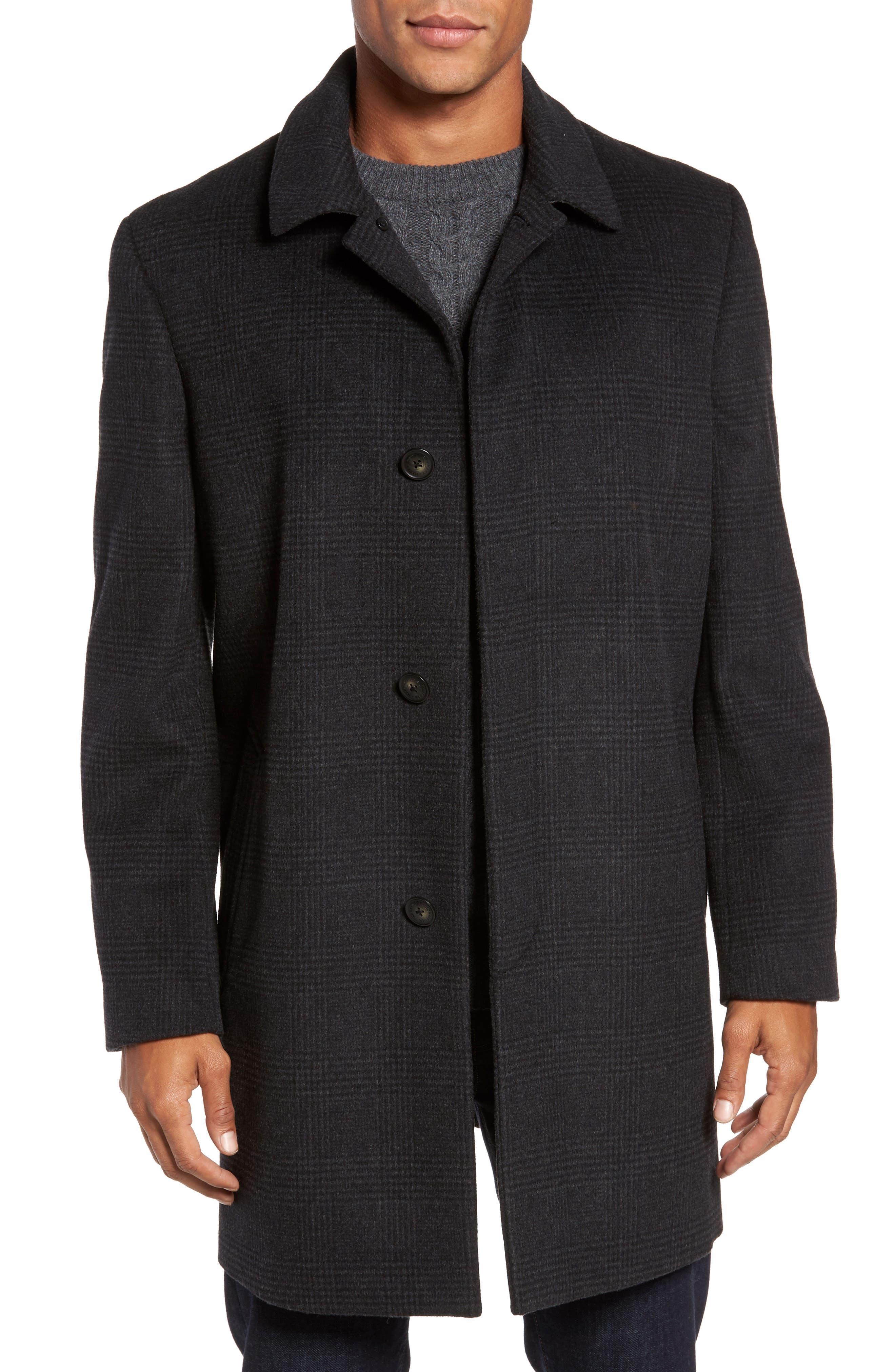Turner Plaid Wool Blend Topcoat,                         Main,                         color, Dark Charcoal