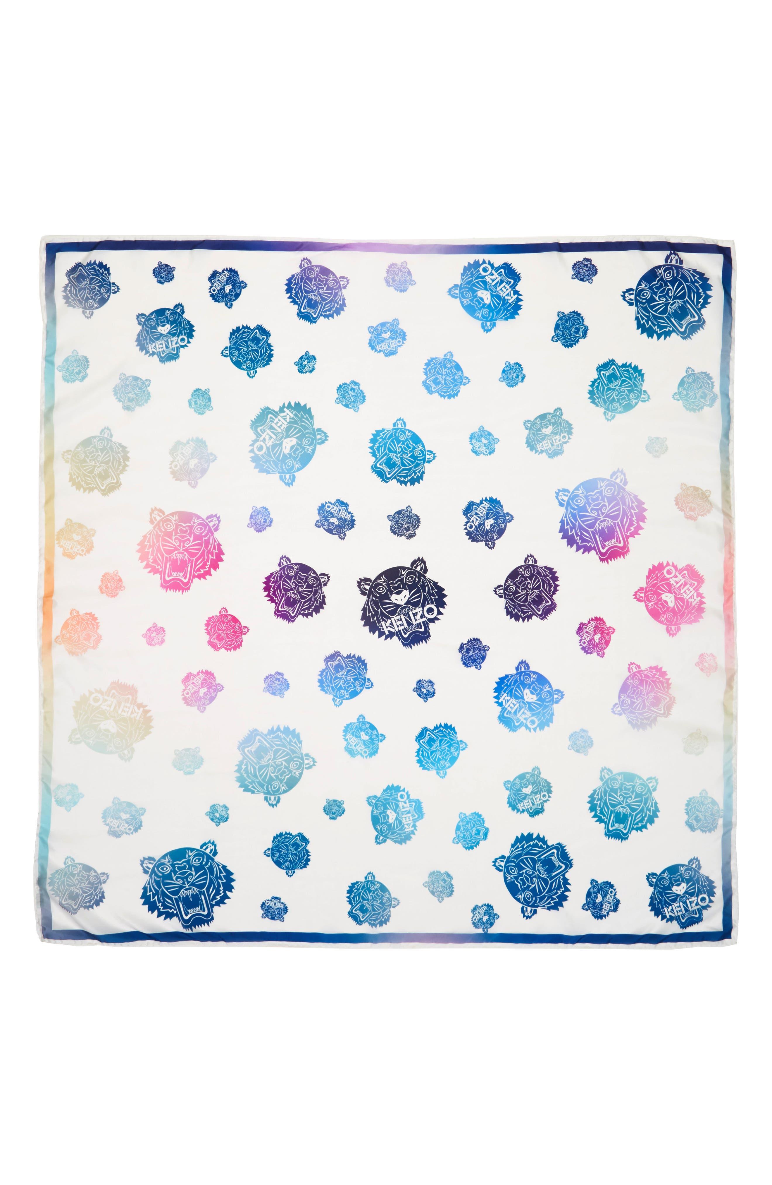 Rainbow Tiger Silk Scarf,                         Main,                         color, White/ Multi