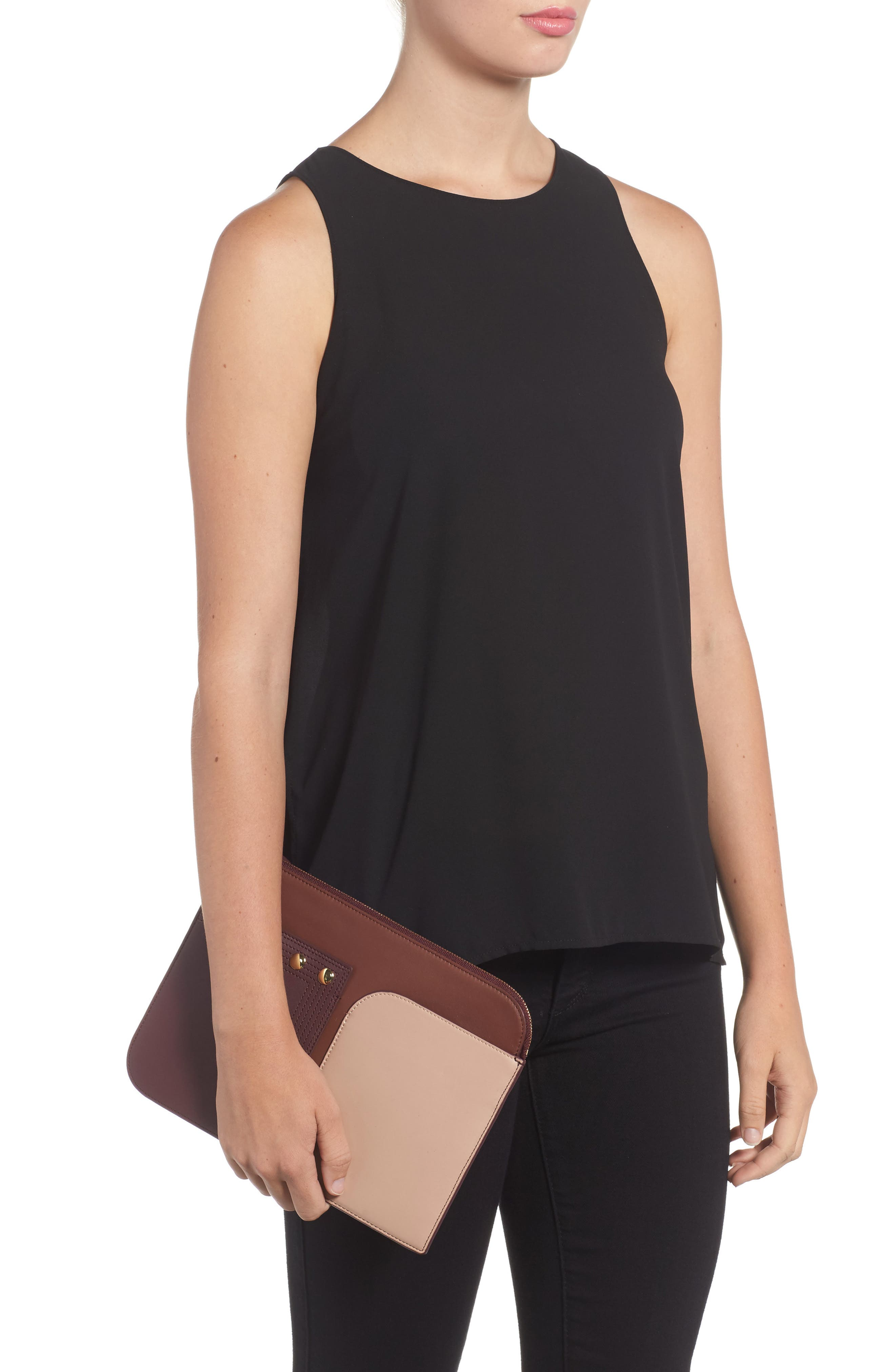 Alternate Image 2  - Diane von Furstenberg Large Colorblock Leather Zip Pouch