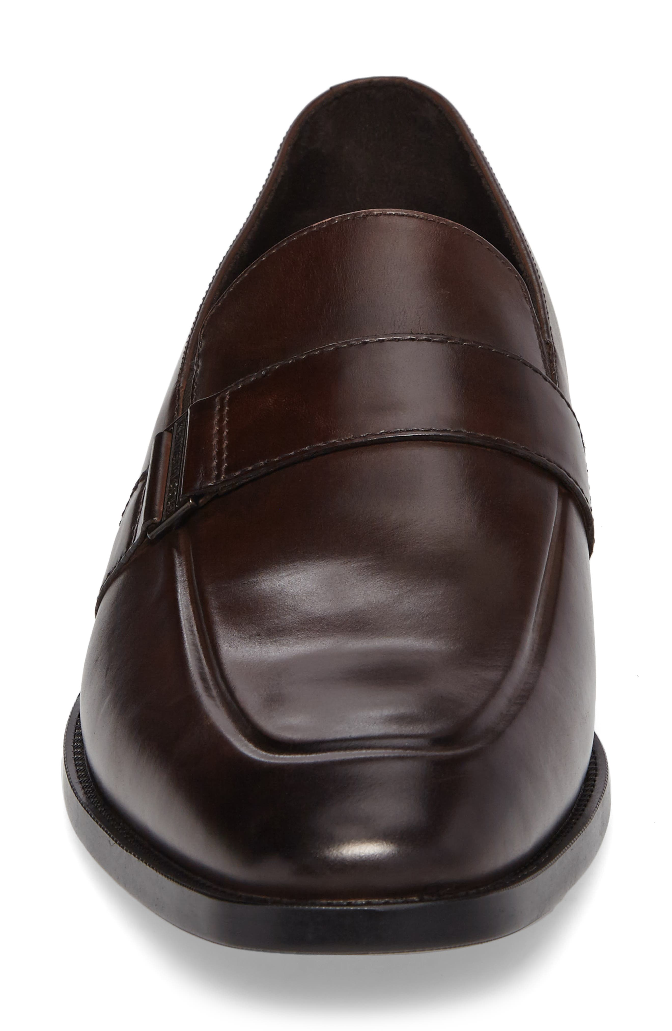 Apron Toe Loafer,                             Alternate thumbnail 4, color,                             Brown Leather