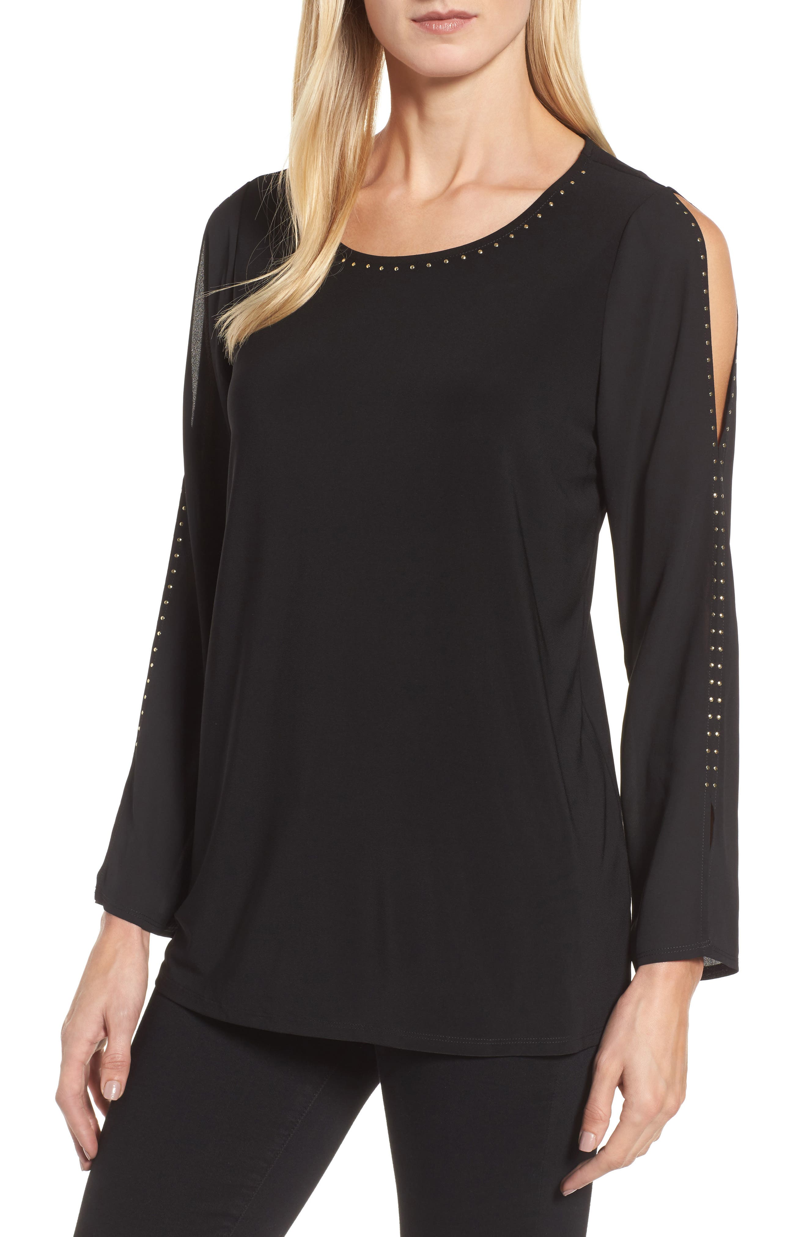 Chaus Studded Split Sleeve Top