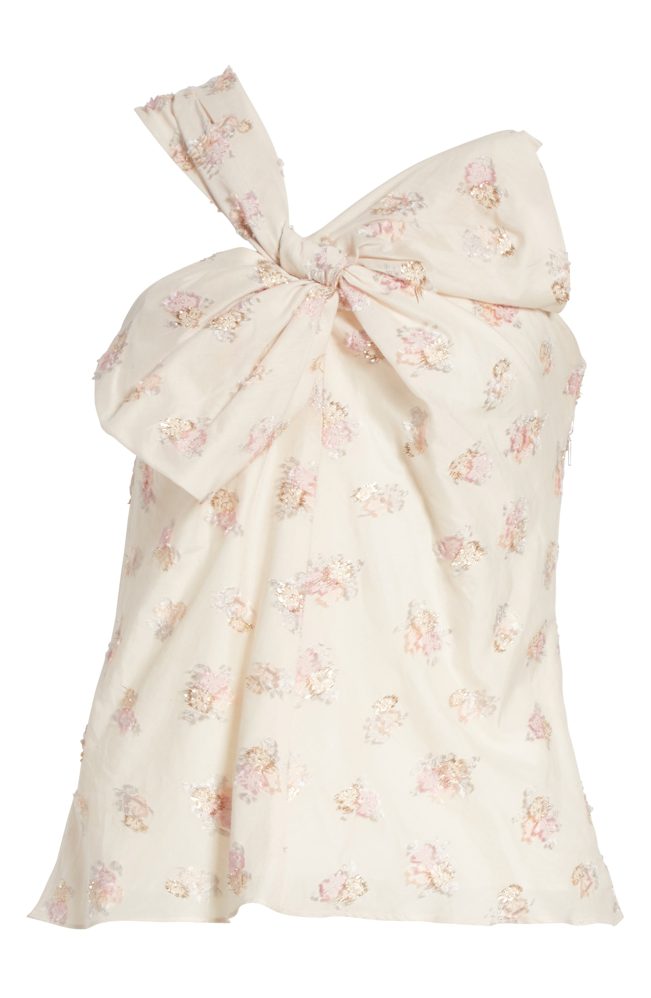 Alternate Image 7  - Rebecca Taylor Bow Front Floral Jacquard Top